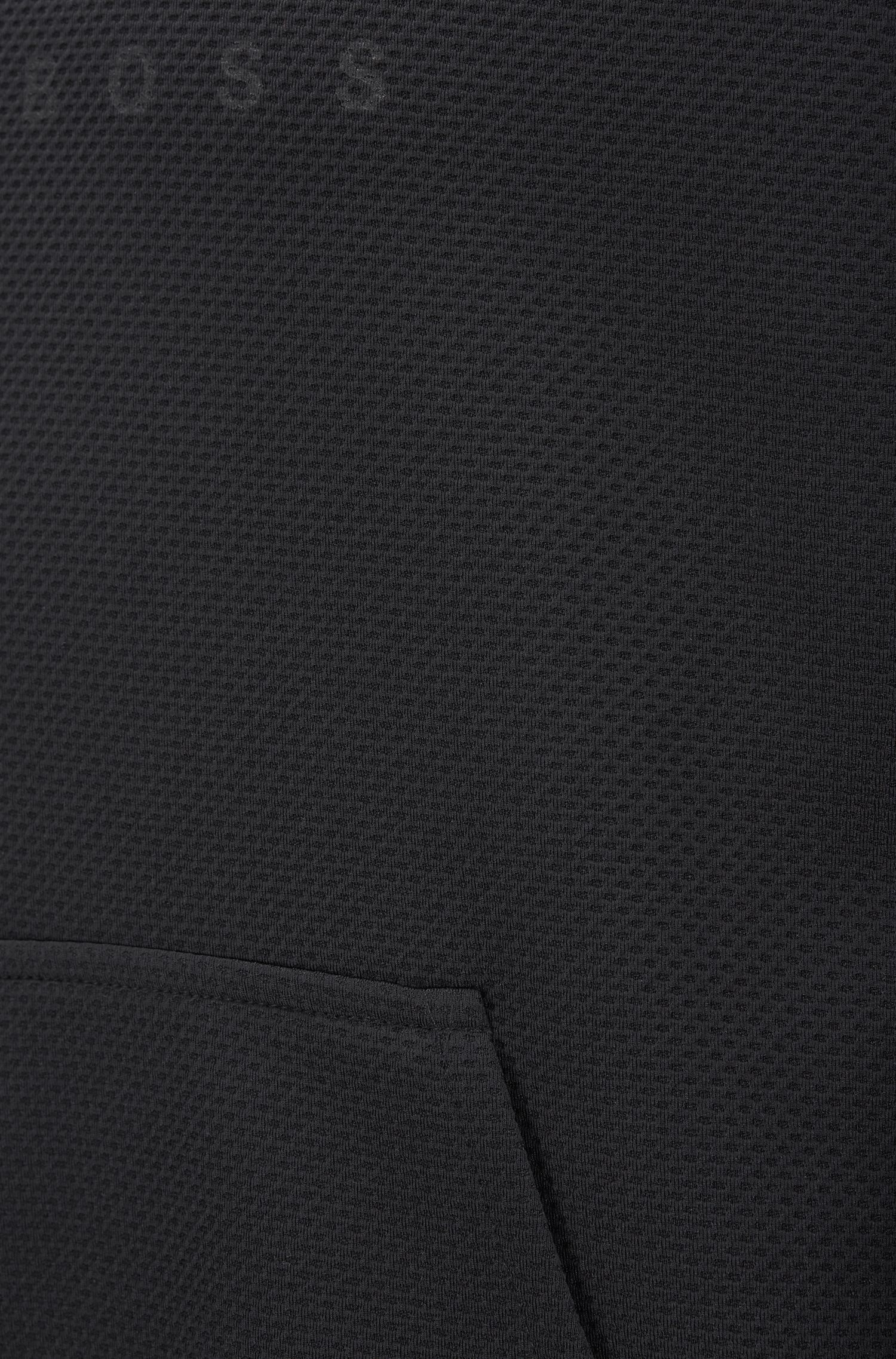 Logo hoodie in piqué fabric with crossover neck, Black