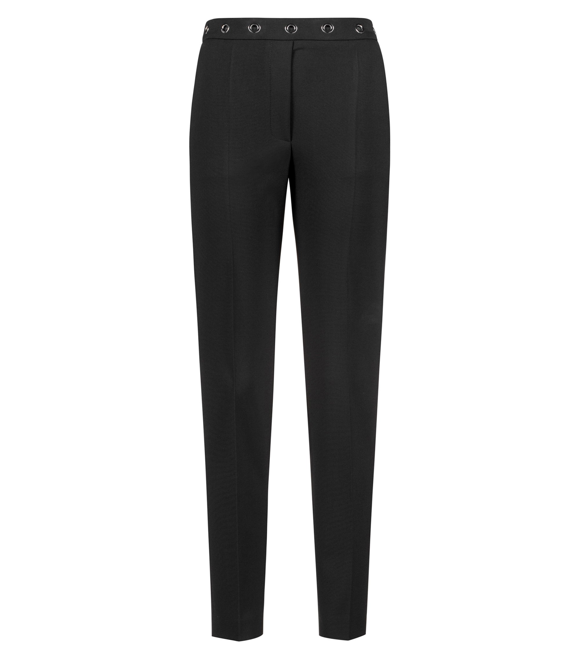 Slim-fit cigarette trousers with eyelet-detail waistband, Black