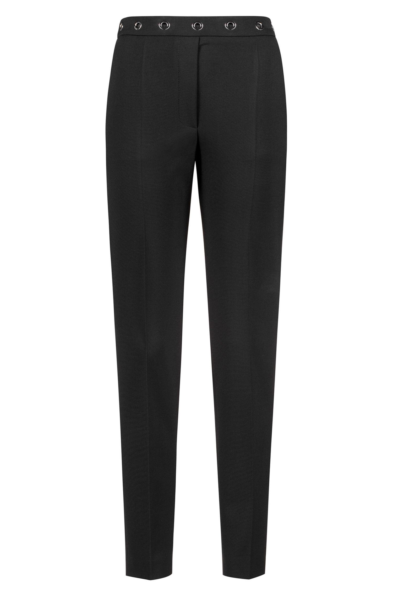 Pantalon cigarette Slim Fit avec œillets à la taille, Noir