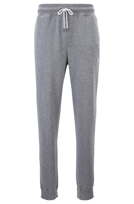 Cuffed loungewear trousers in double-faced melange fabric, Grey