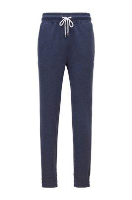 Loungewearbroek met boorden van een dubbellaags gemêleerd materiaal, Donkerblauw