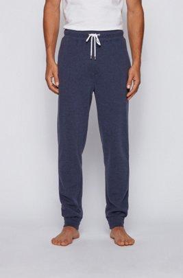 Melierte Loungewear-Hose aus zweiseitigem Baumwoll-Mix mit Bündchen, Dunkelblau