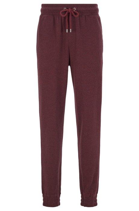 Pantaloni per l'abbigliamento da casa in tessuto mélange double-face con fondo gamba elastico, Rosso scuro