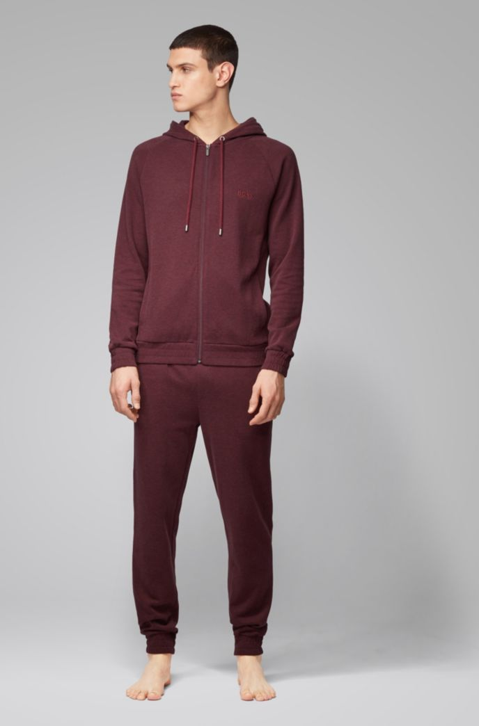 Cuffed loungewear trousers in double-faced melange fabric