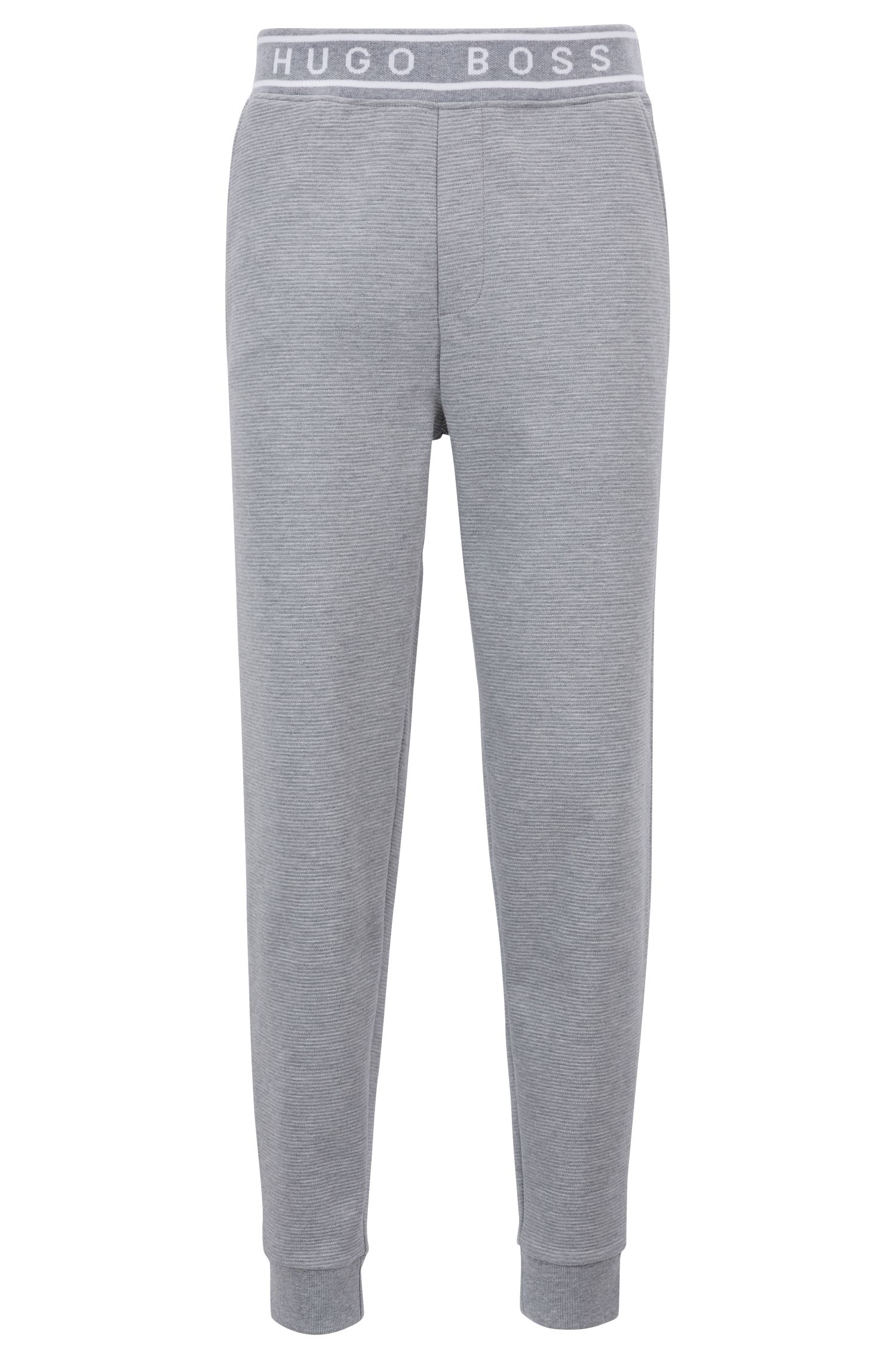 Cuffed-hem loungewear trousers in cotton interlock, Grey