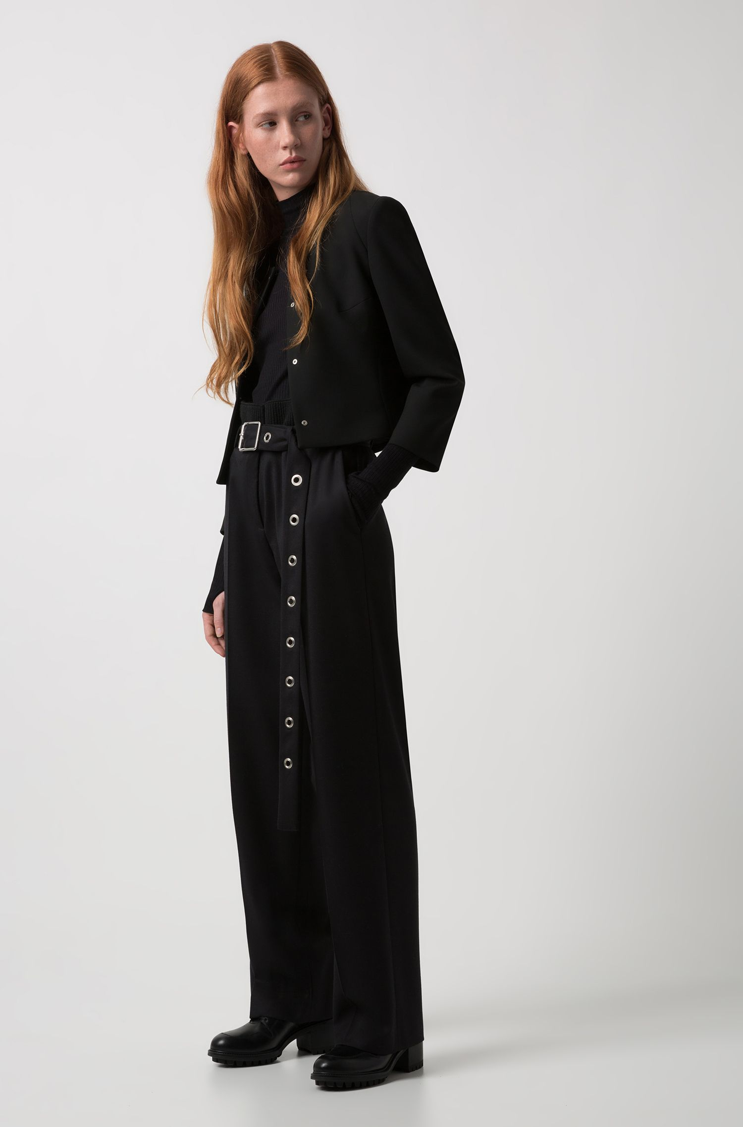 Collarless blazer in stretch fabric with metallic eyelet buttons, Black