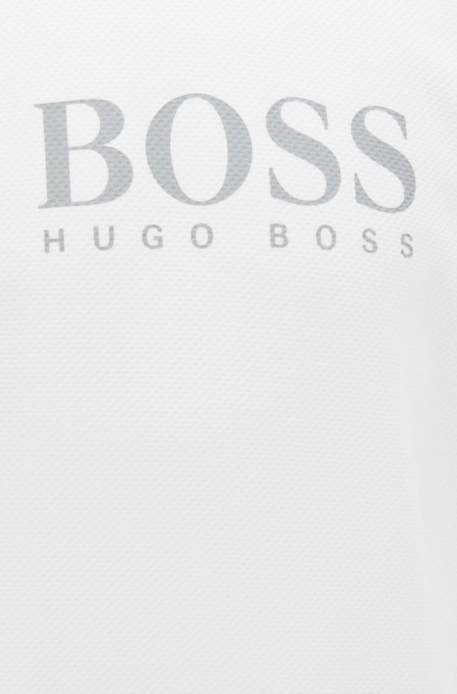 Loungewear-sweatshirt met logo, van een piqué-materiaal, Wit