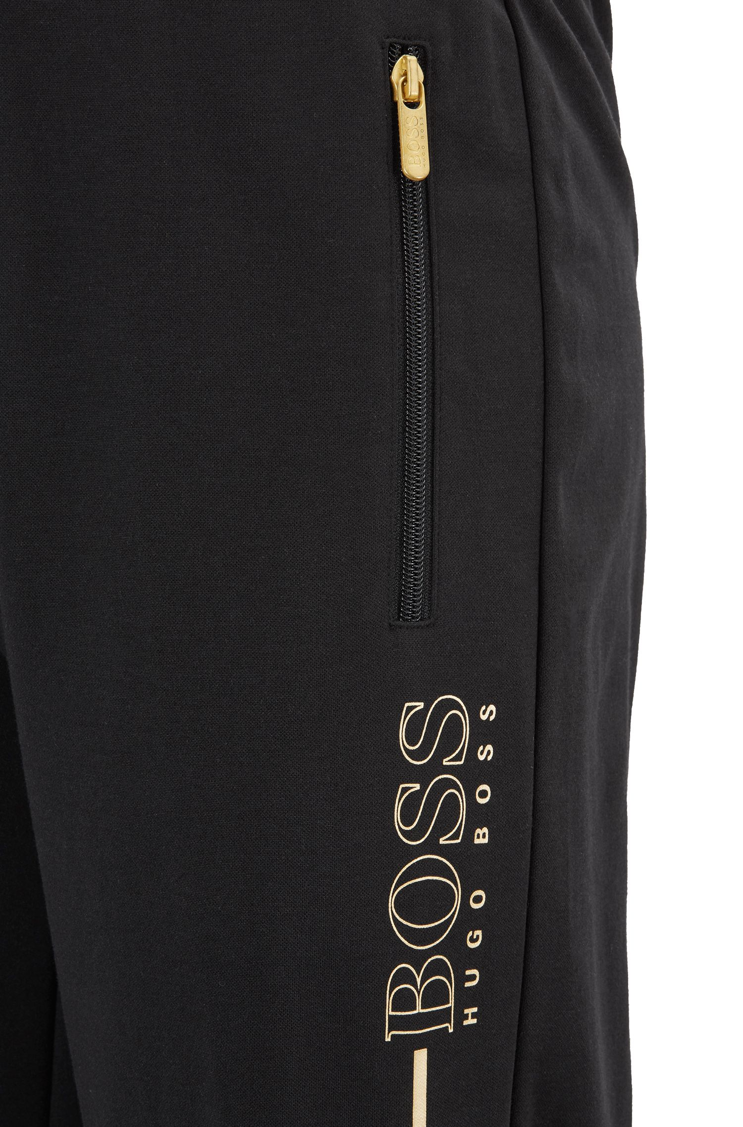 Drawstring-waist loungewear trousers in cotton-blend pique, Black
