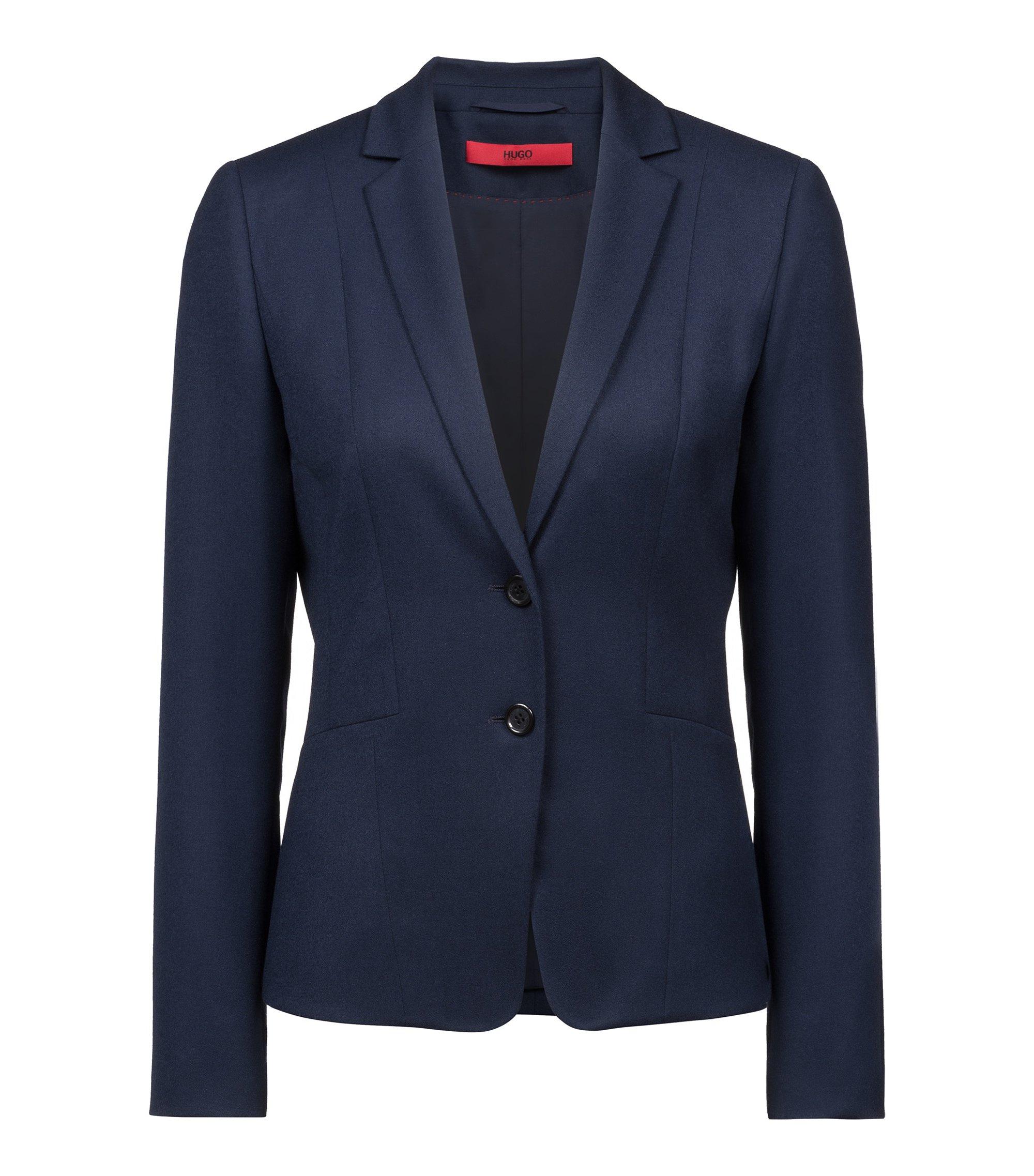 Blazer regular fit en franela de lana virgen elástica, Azul oscuro