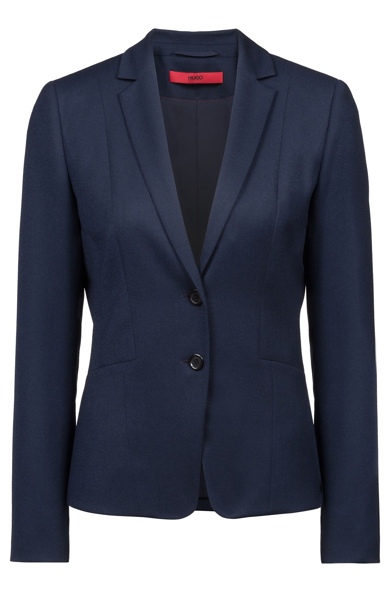 Regular-fit blazer in stretch-virgin-wool flannel, Dark Blue