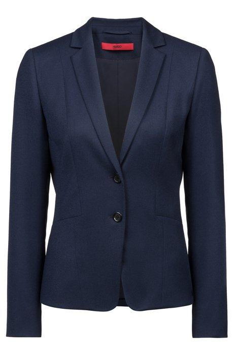 5301ccb35e6ed Blazer Regular Fit en flanelle de laine vierge stretch, Bleu foncé