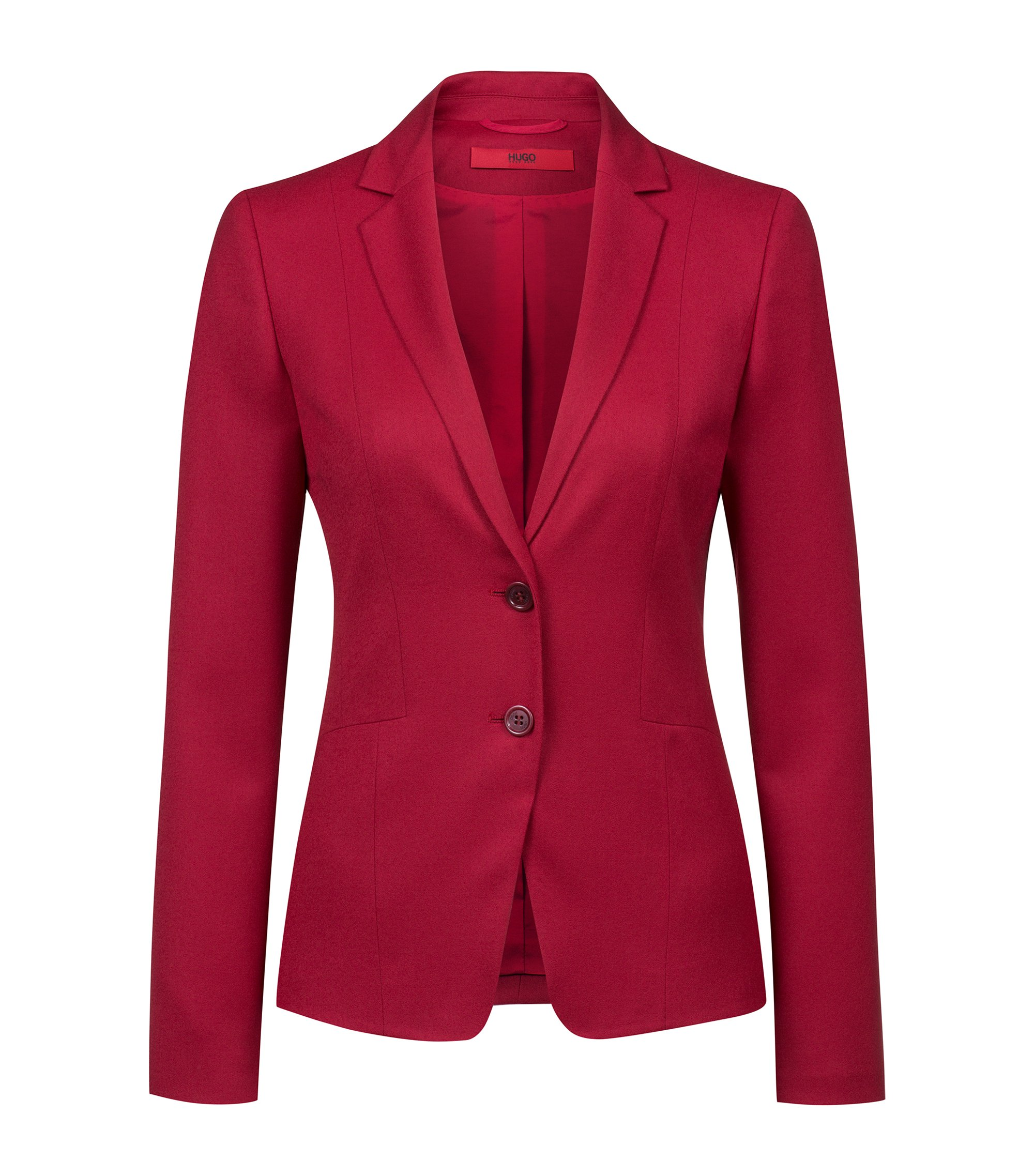 Blazer Regular Fit en flanelle de laine vierge stretch, Rouge