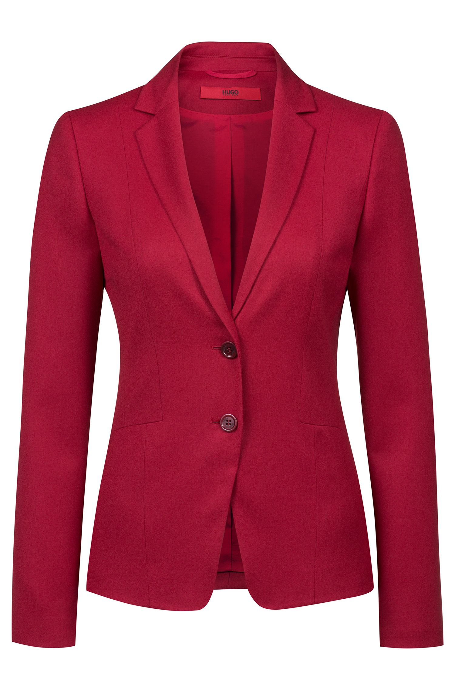 Blazer regular fit en franela de lana virgen elástica, Rojo