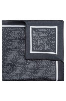 Pañuelo de bolsillo de seda con motivo de logo estampado, Negro