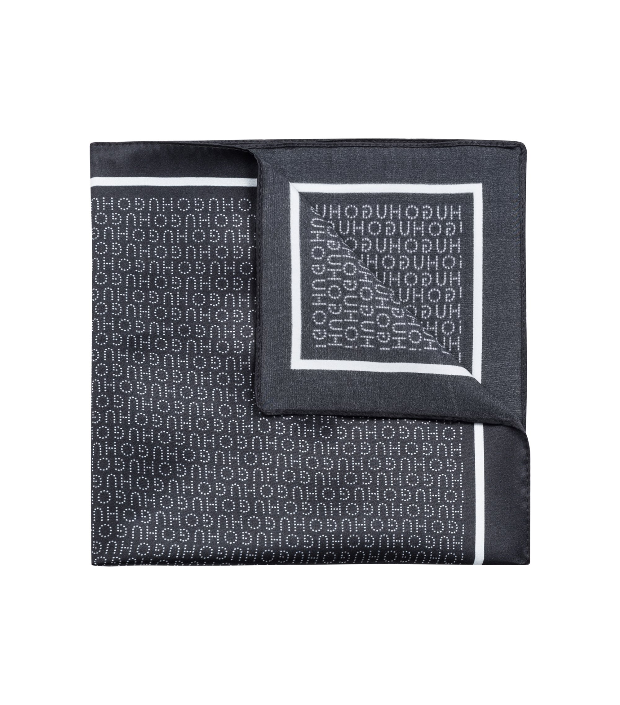 Silk pocket square with printed logo motif, Black