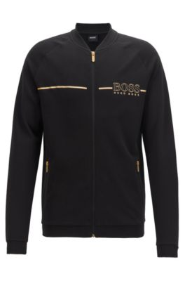 College-collar loungewear jacket with metallic logo, Black