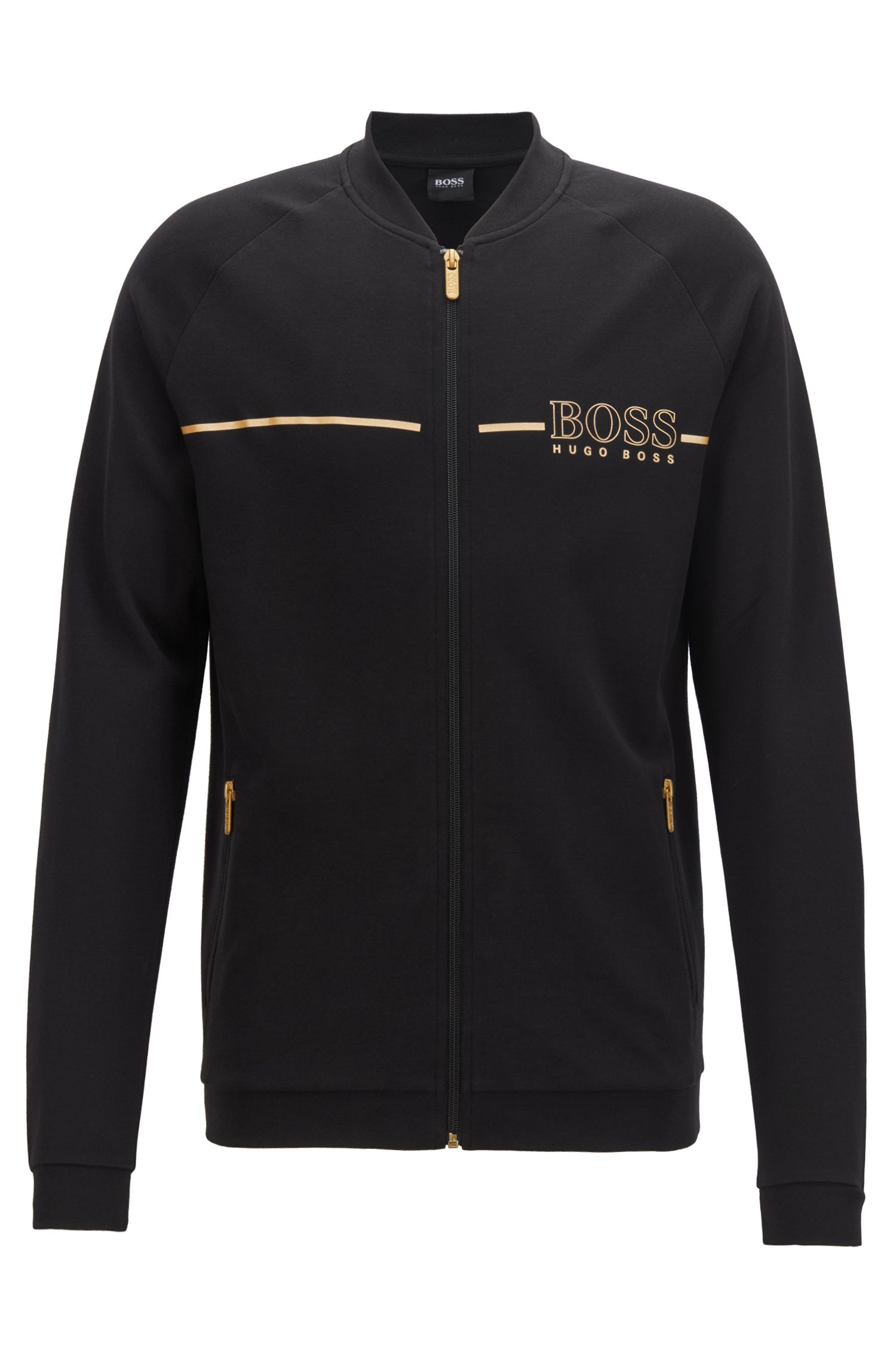 Loungewear-Jacke aus Piqué mit College-Kragen und Metallic-Logo, Schwarz