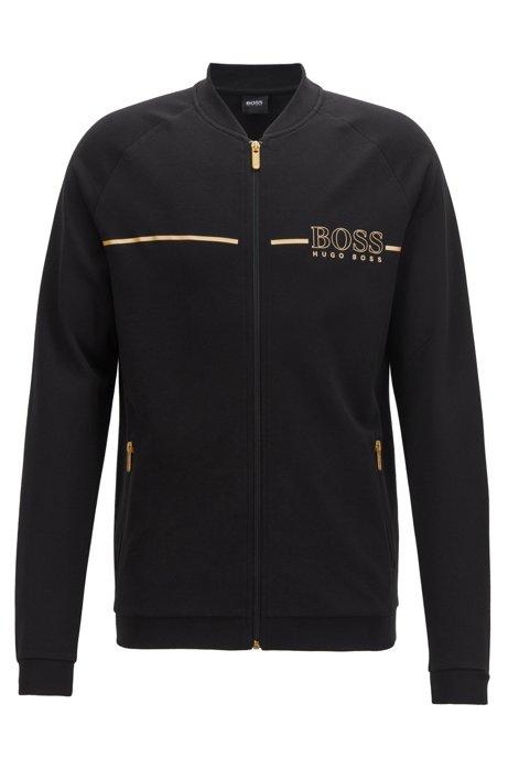 College-collar loungewear jacket with metallic logo, Black