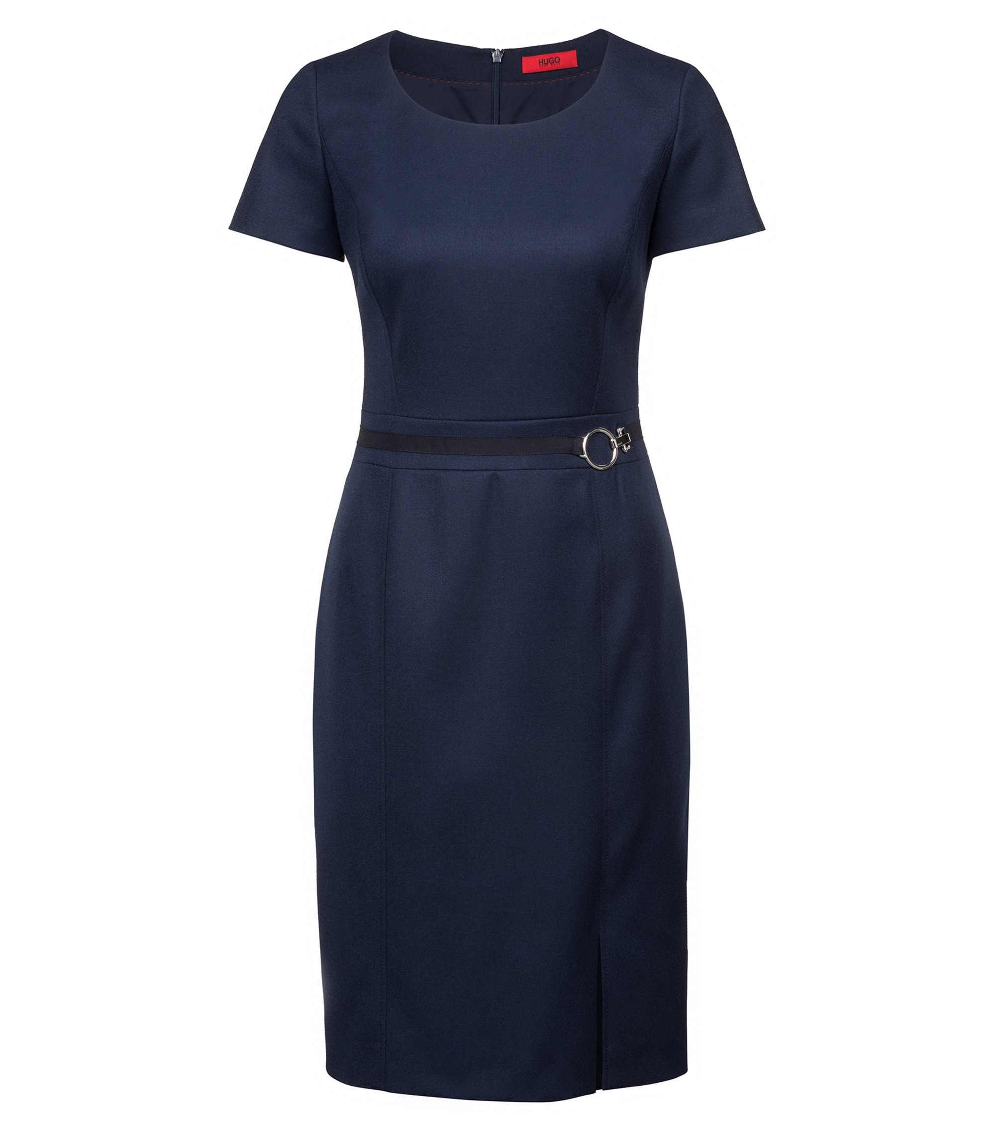 Short-sleeved shift dress with logo buckle, Dark Blue