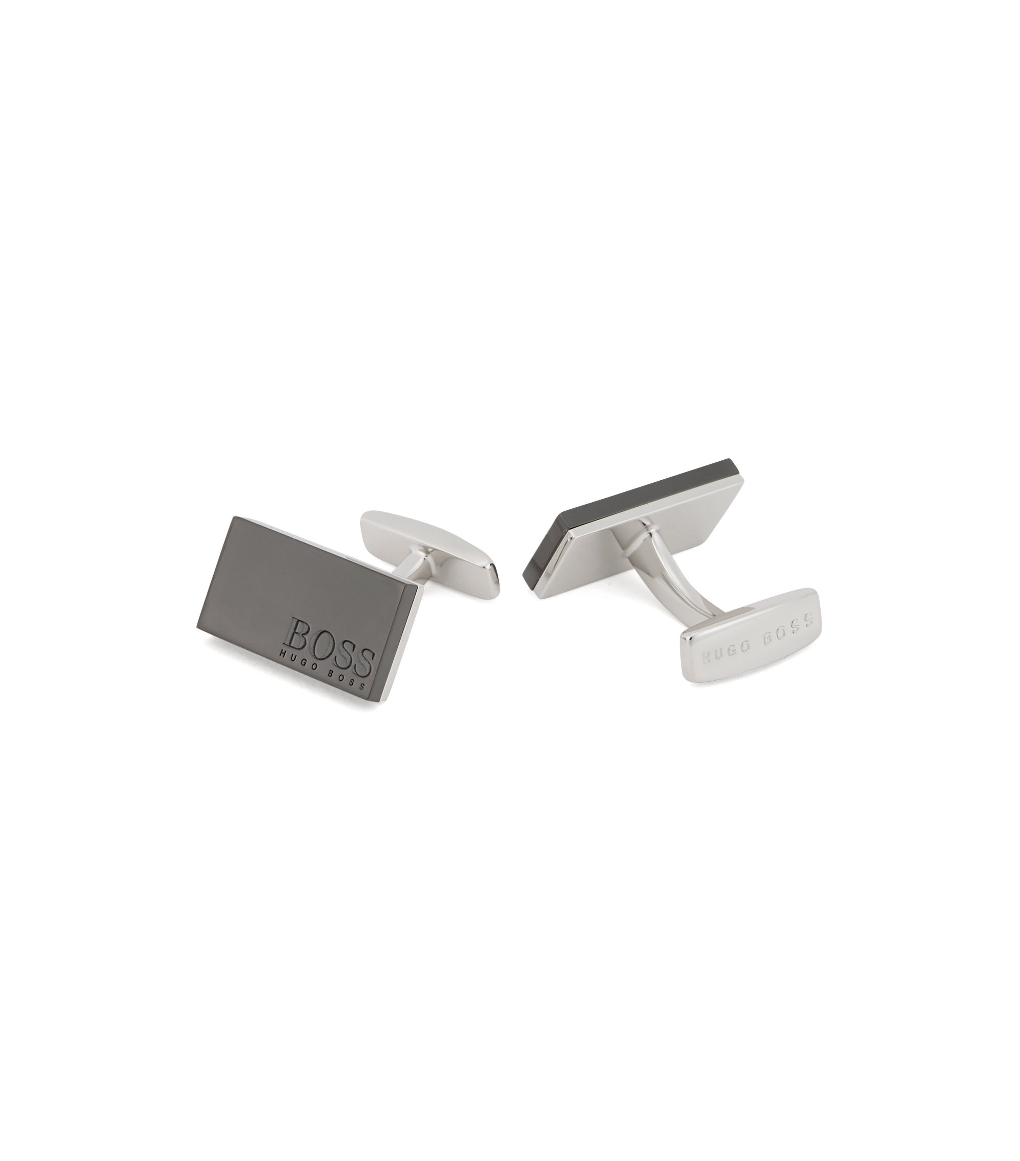 Rectangular cufflinks with matte black-plated face, Black