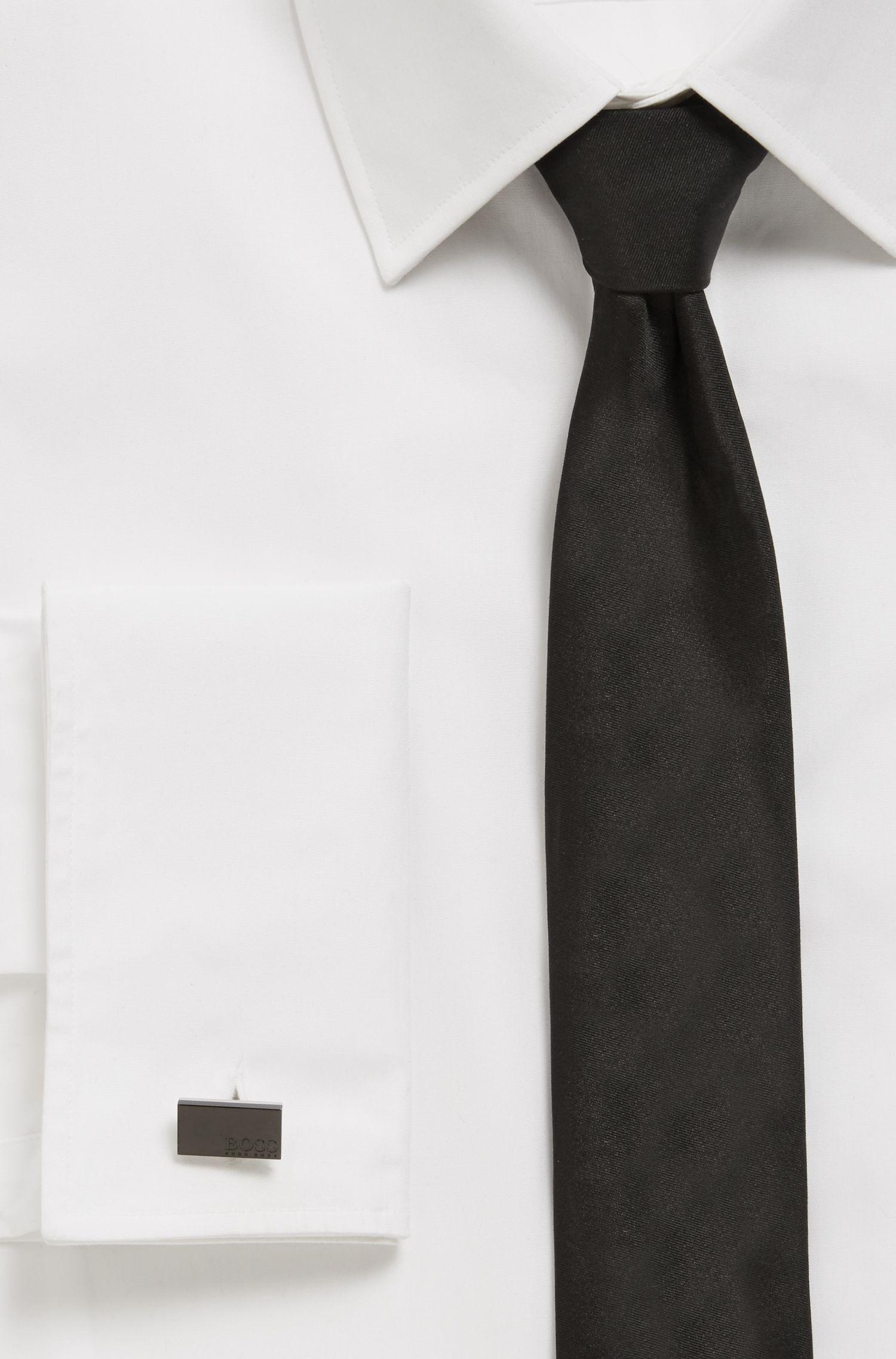 Rectangular cufflinks with matte black-plated face, Black