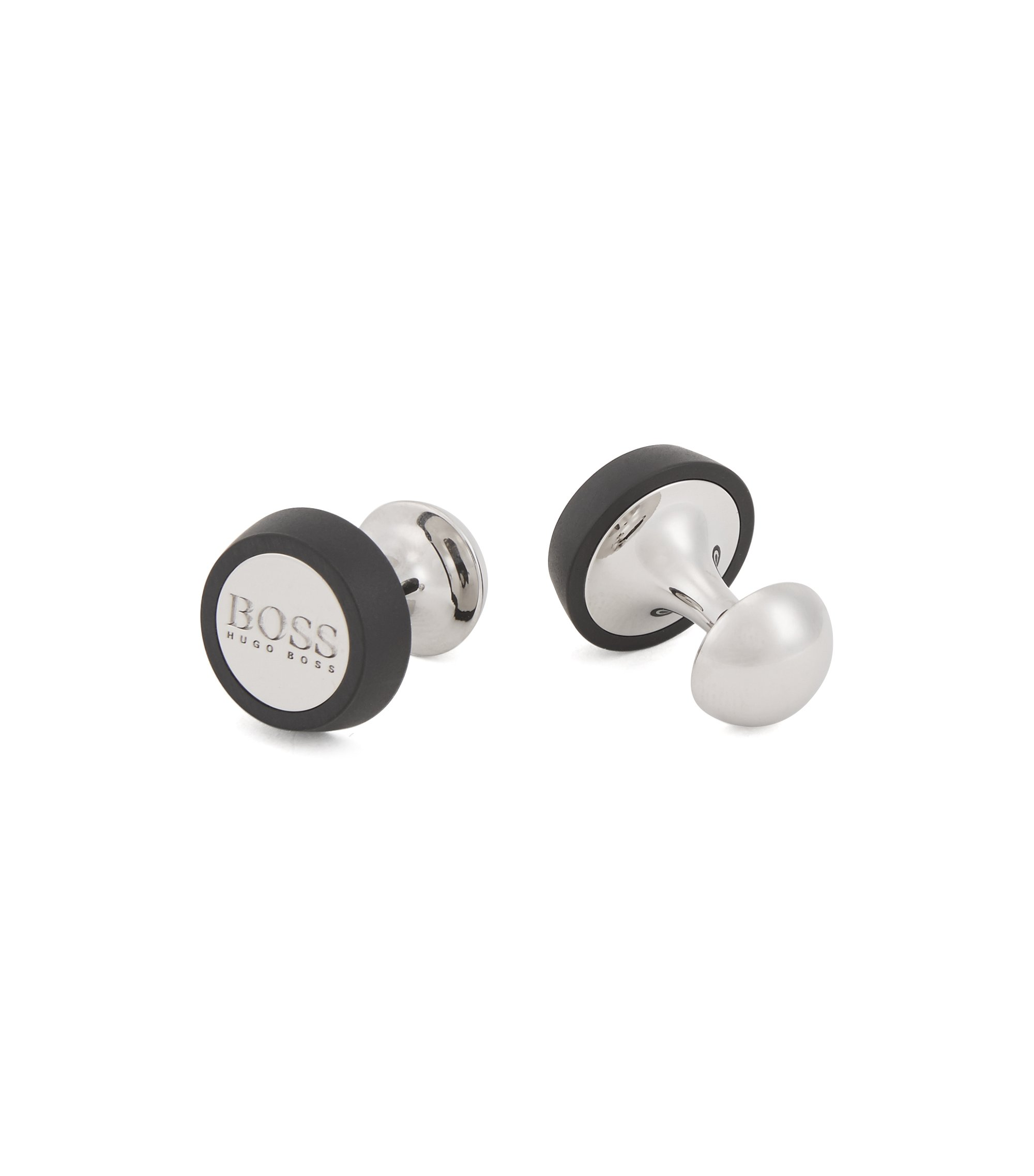 Hand-polished round cufflinks with matte enamel detailing, Black