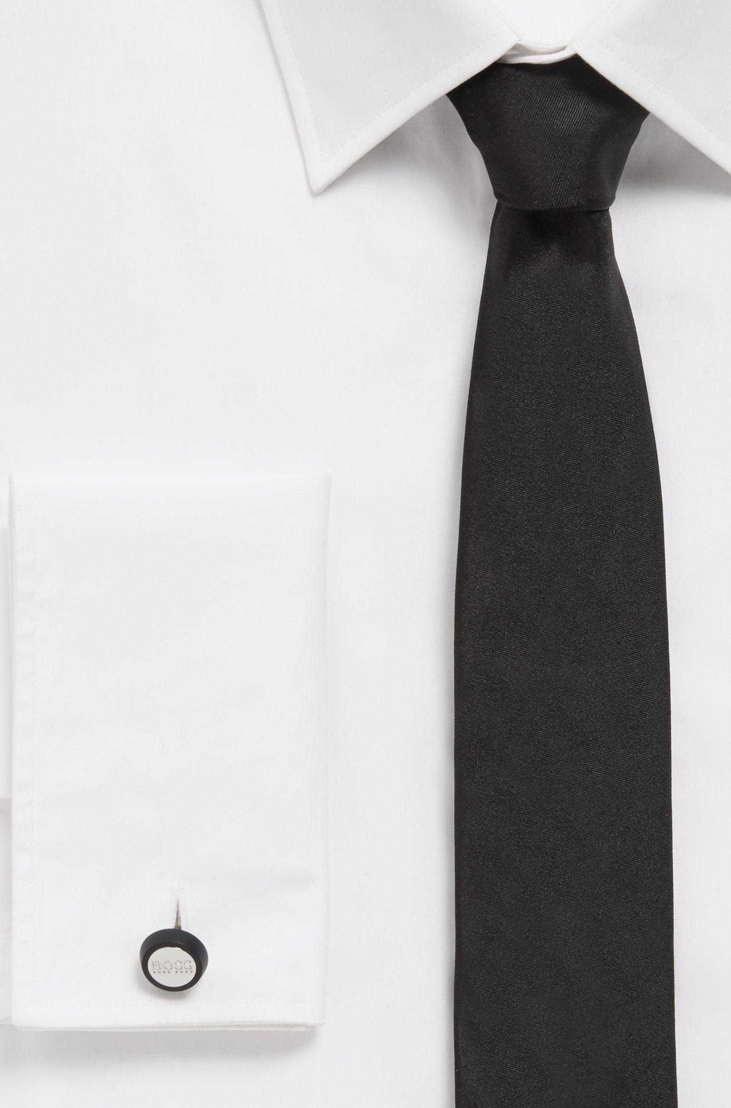 Handpolierte, runde Manschettenknöpfe mit mattem Emaille-Detail, Schwarz
