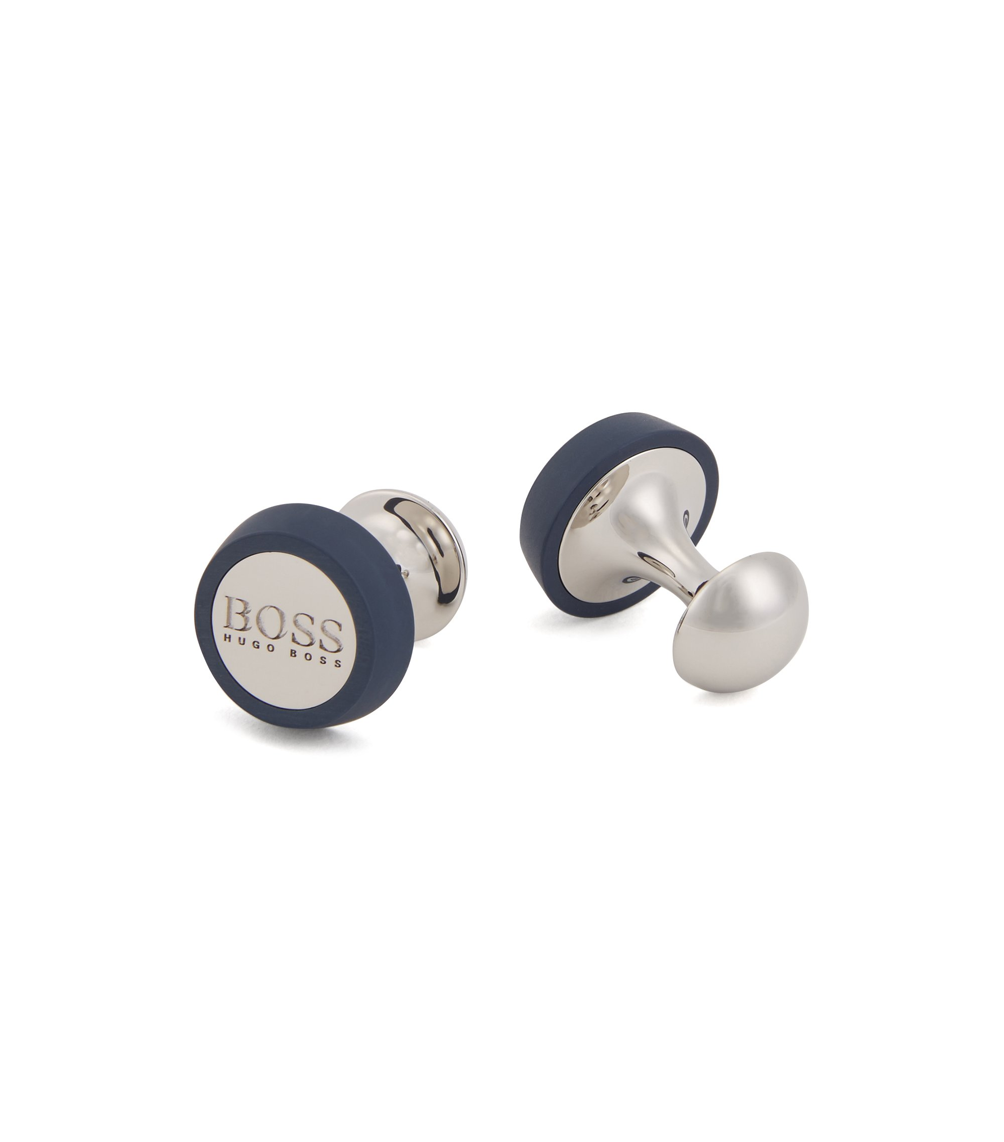 Hand-polished round cufflinks with matte enamel detailing, Open Blue