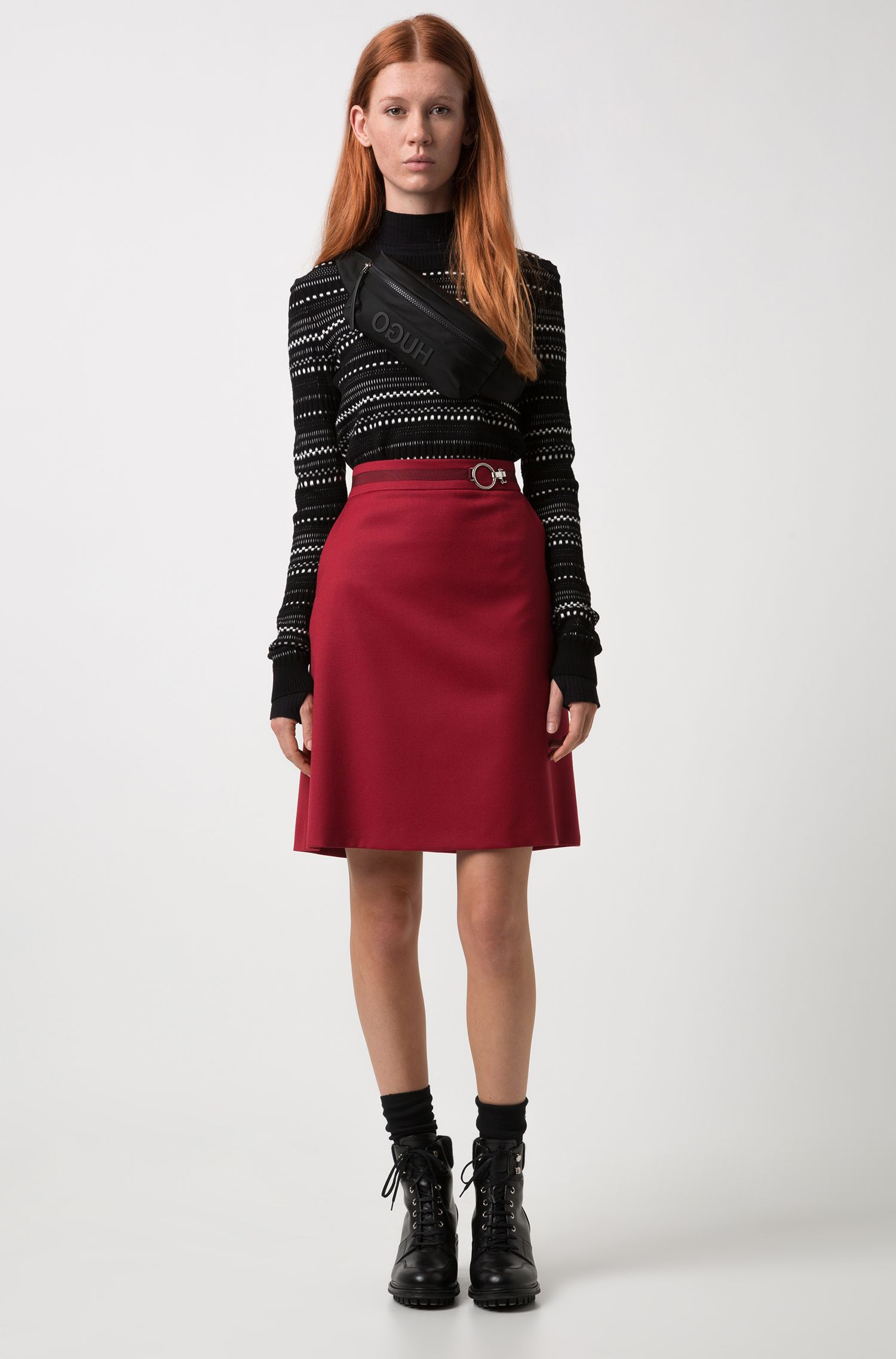 A-line miniskirt in stretch virgin wool with signature buckle
