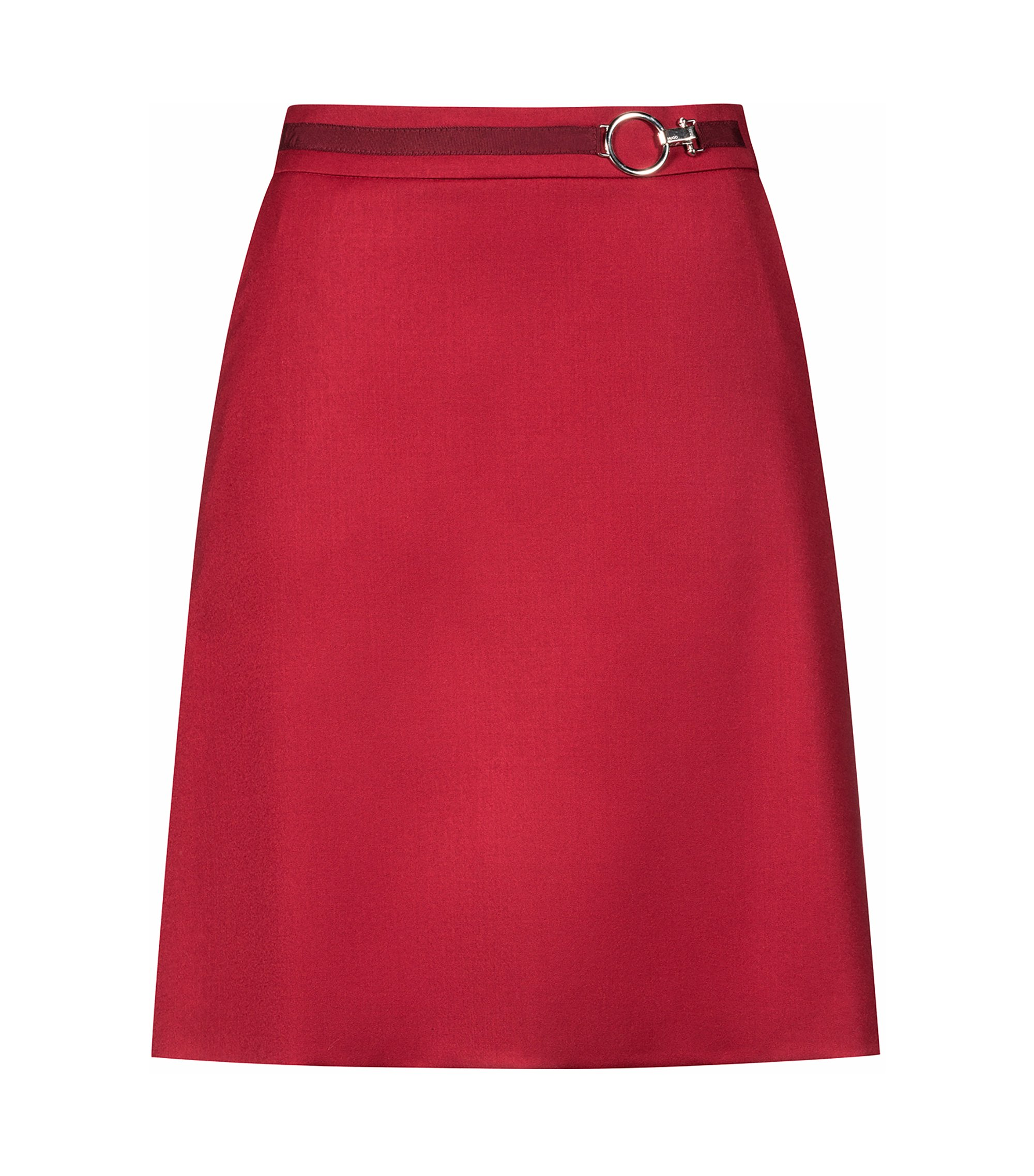 Jupe courte évasée en laine vierge stretch avec boucle emblématique, Rouge
