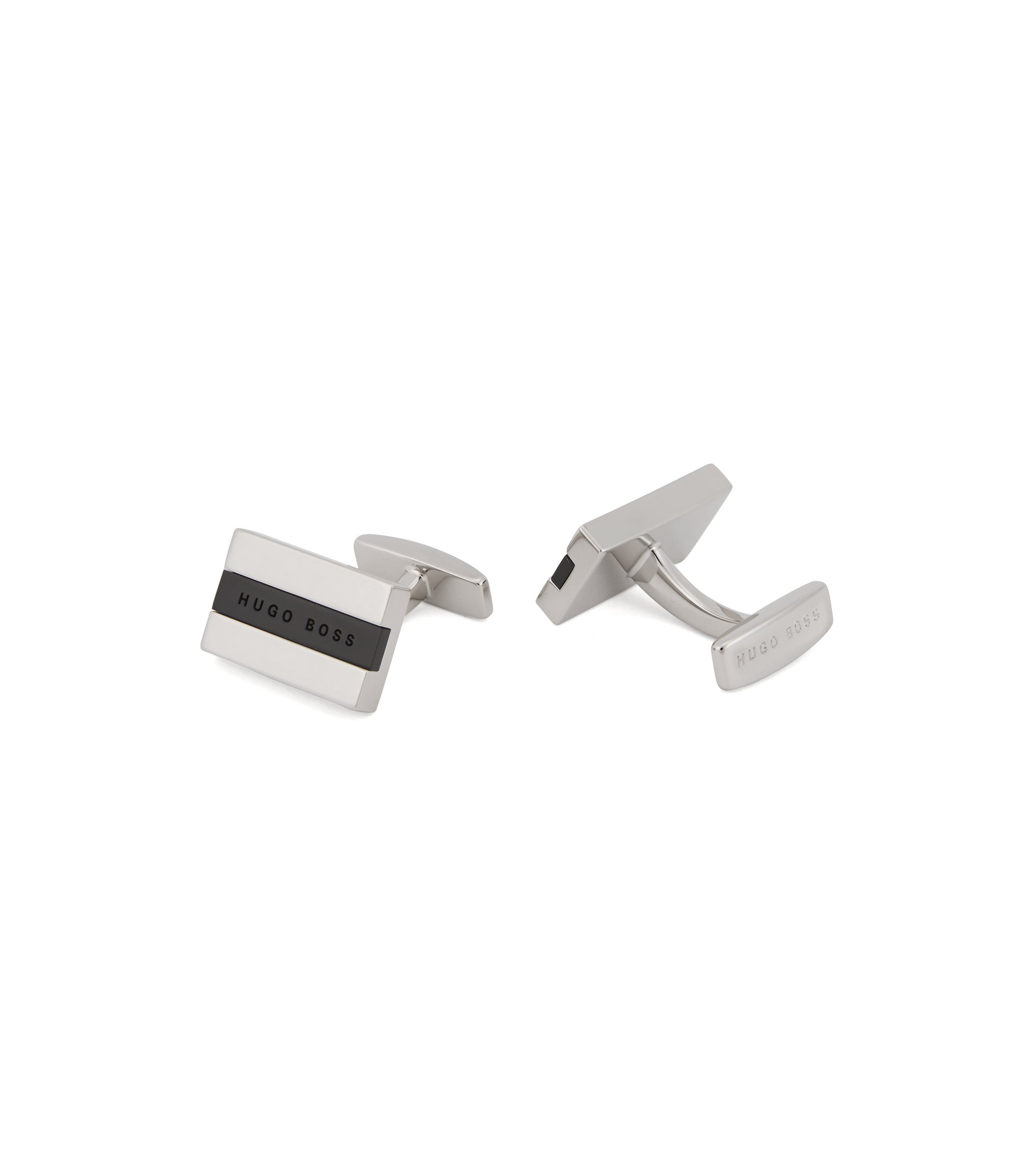 Hand-polished cufflinks with logo-engraved enamel core, Black