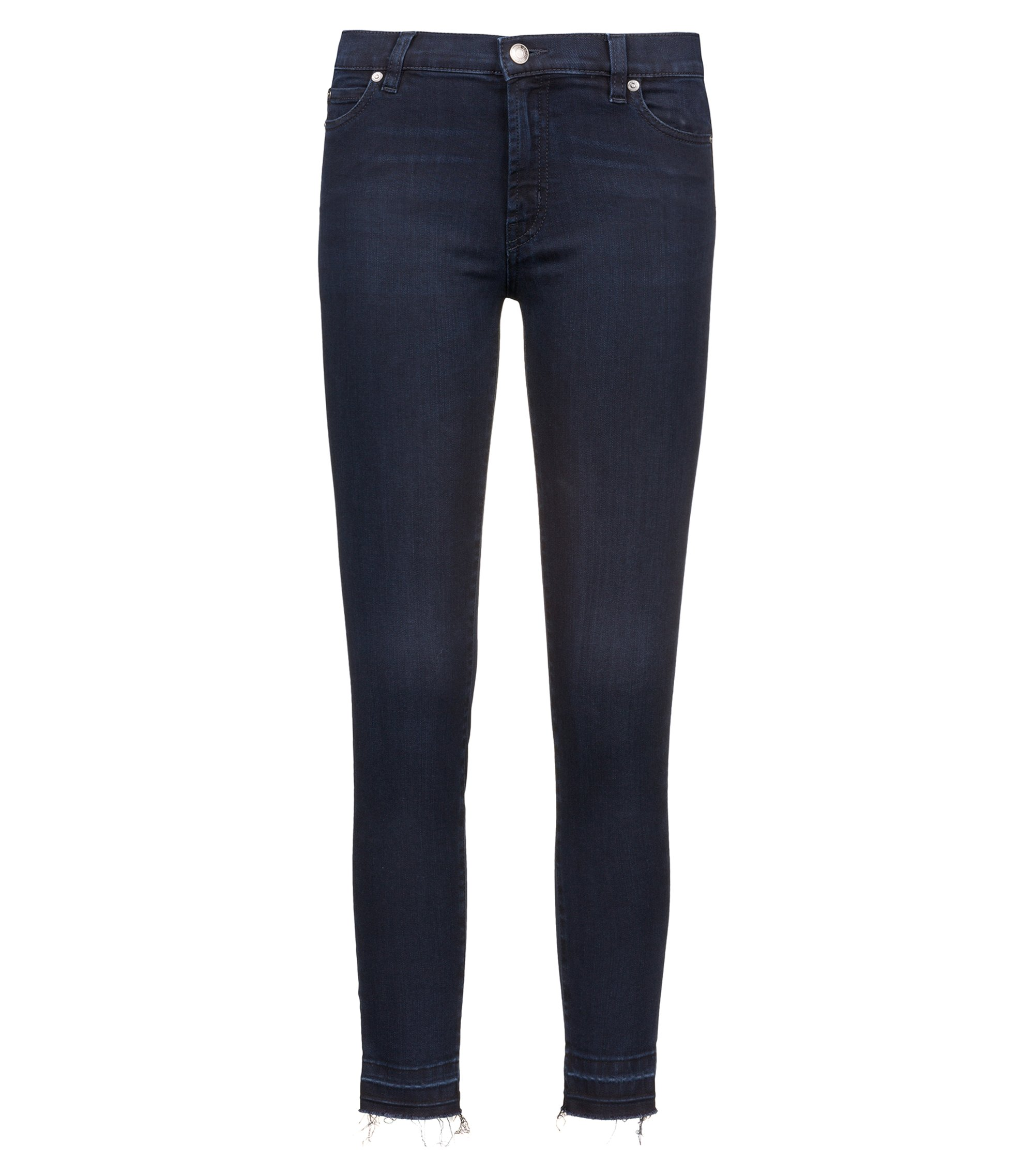 Jeans extra slim fit in denim elasticizzato con orli aperti, Blu scuro