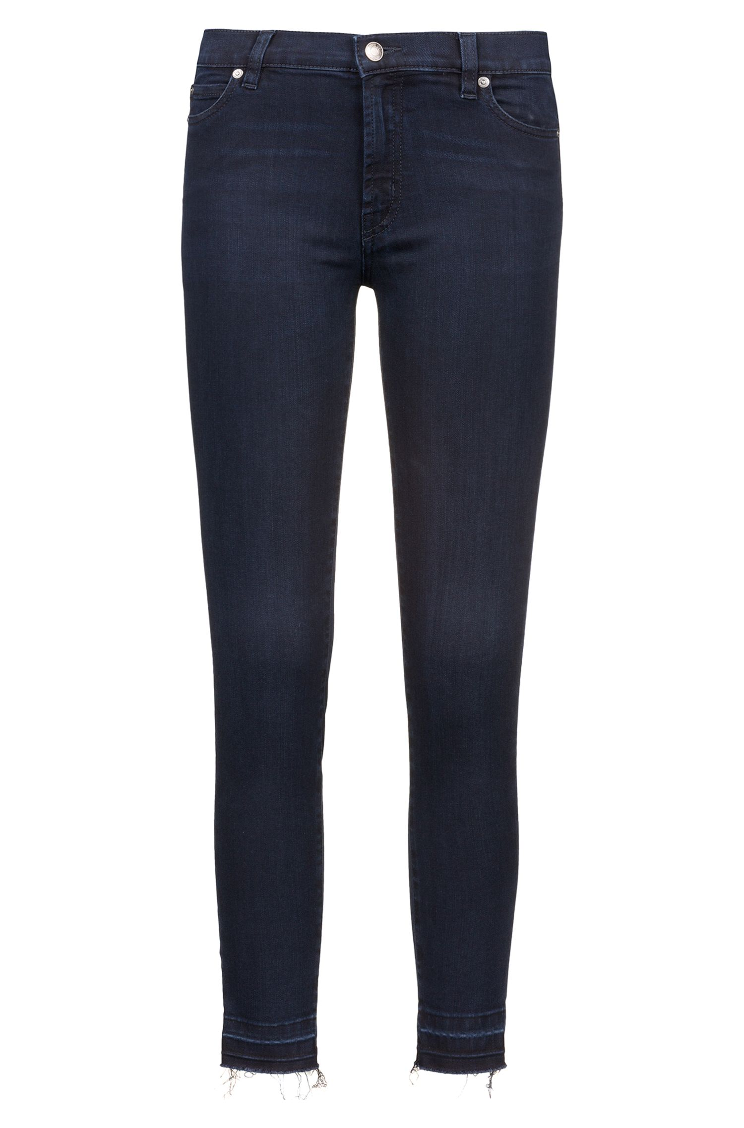 Jeans extra slim fit in denim elasticizzato con orli aperti