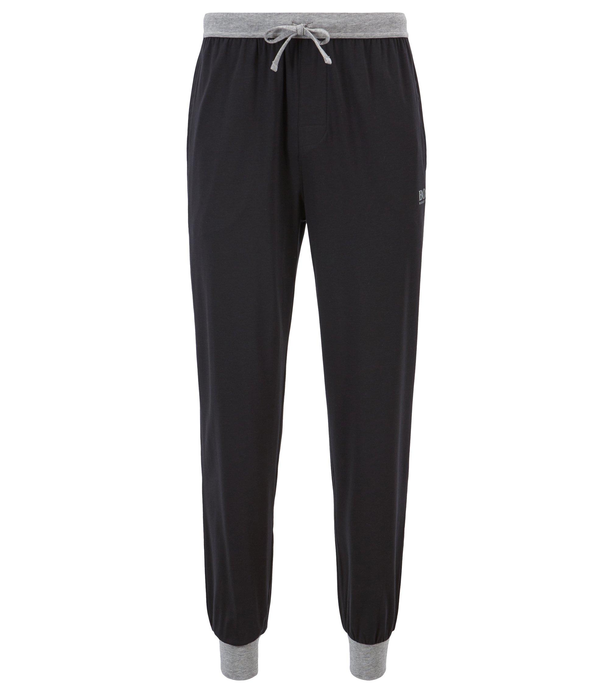 Pyjama-Hose aus Single Jersey mit Tunnelzug und kontrastfarbenen Details, Schwarz