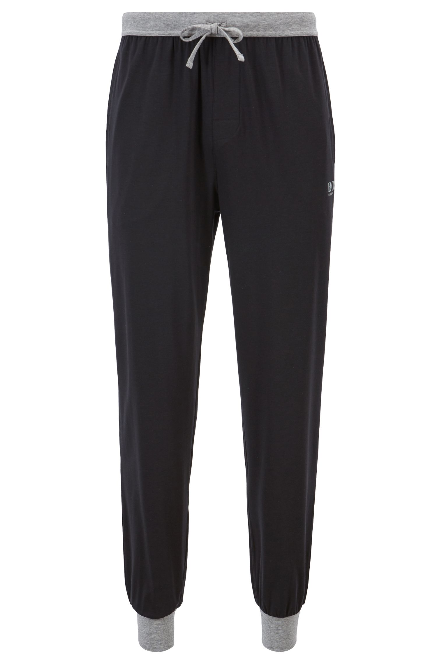 Drawstring-waist jersey pyjama bottoms with contrast details, Black