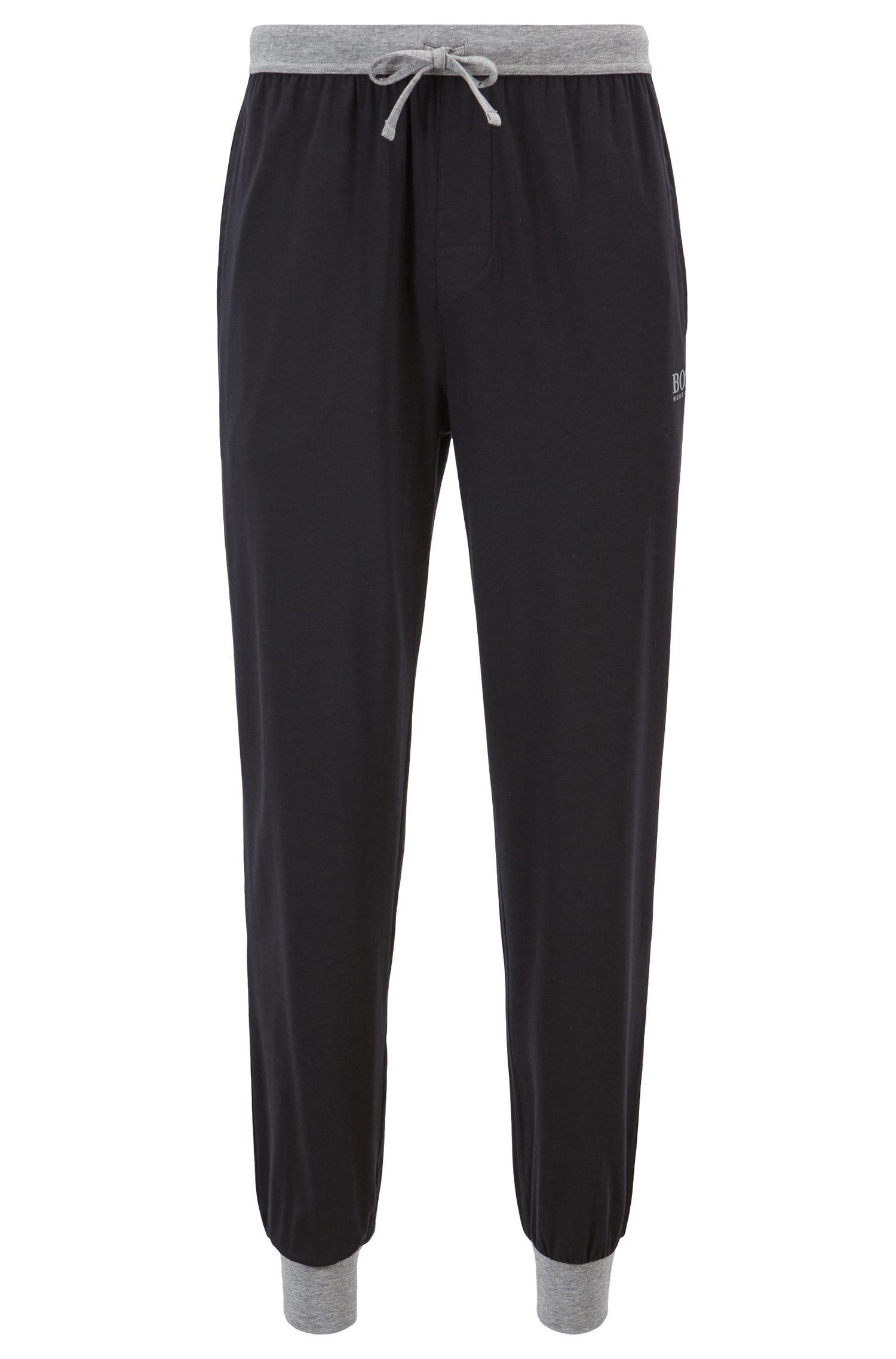 Pantalones de pijama de punto con cordón en la cintura y detalles en contraste, Negro
