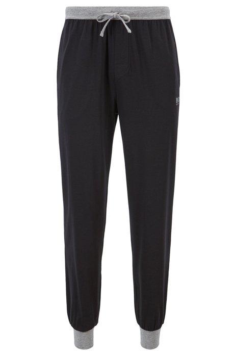dc23c3ea04 Drawstring-waist jersey pyjama bottoms with contrast details, Black
