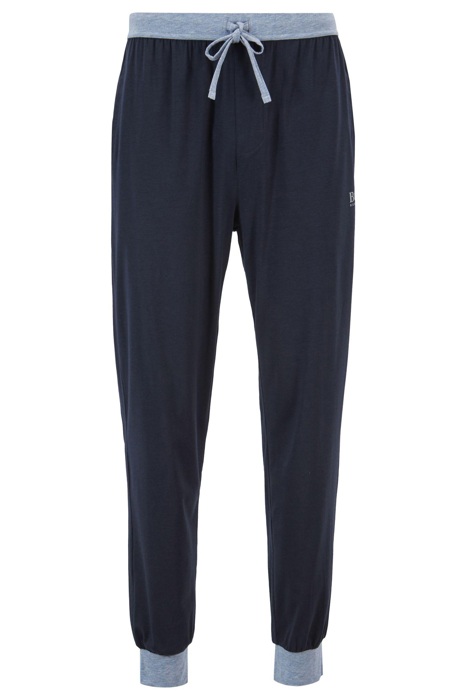 Pyjamabroek van jersey met trekkoord in de taille en contrastdetails, Blauw