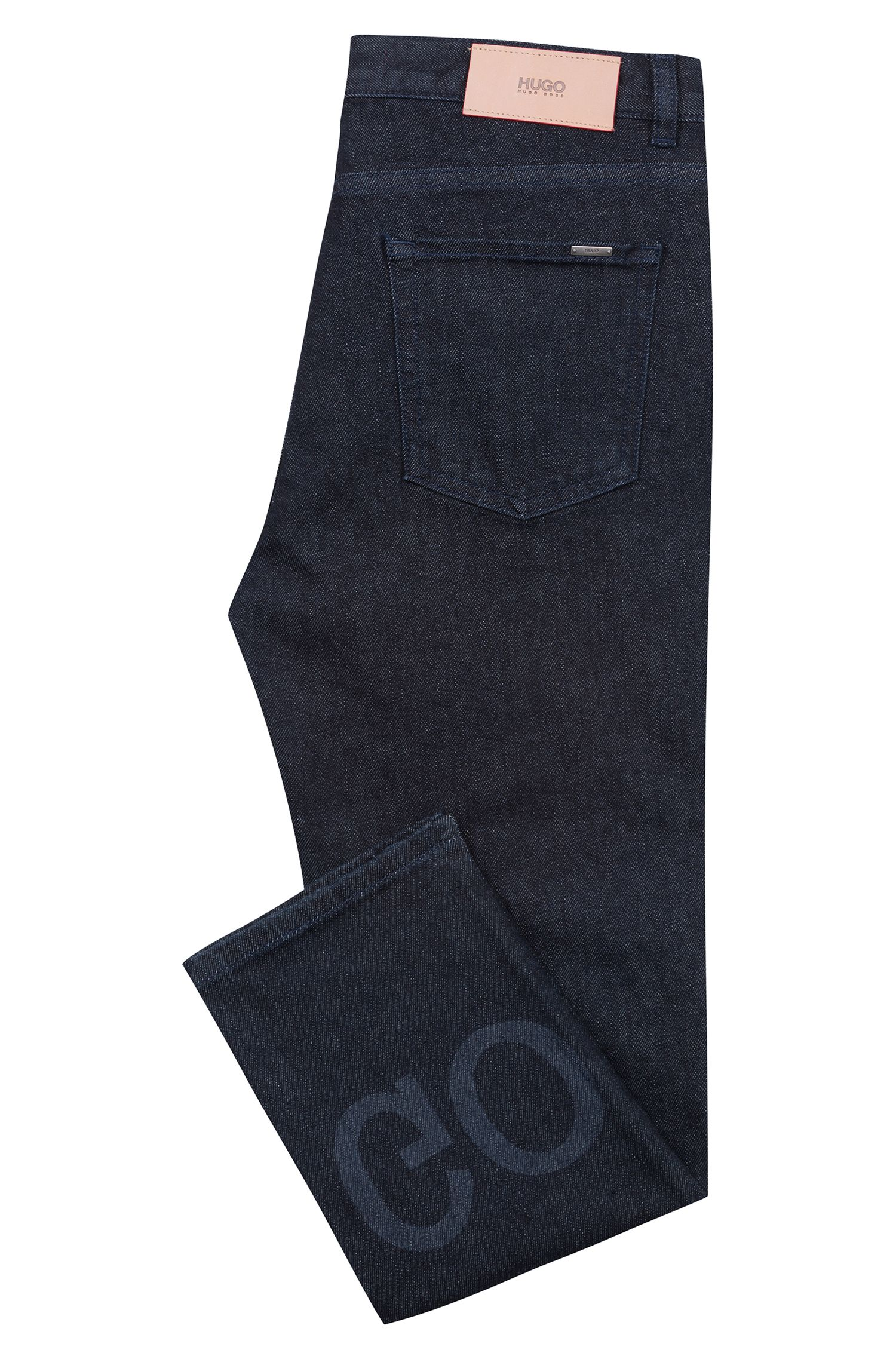 Slim-fit cropped jeans with reverse-logo artwork