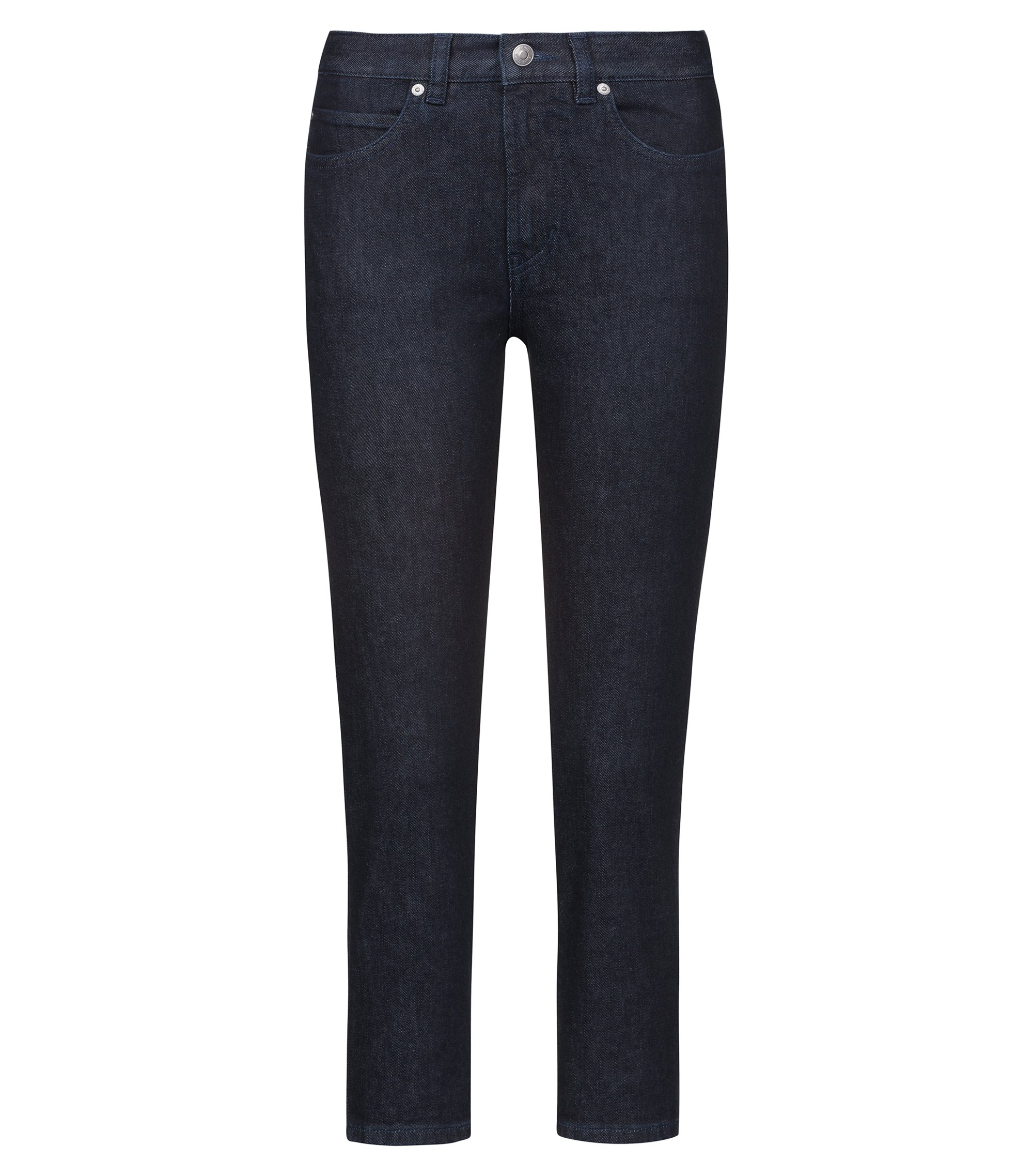 Slim-fit cropped jeans with reverse-logo artwork, Dark Blue