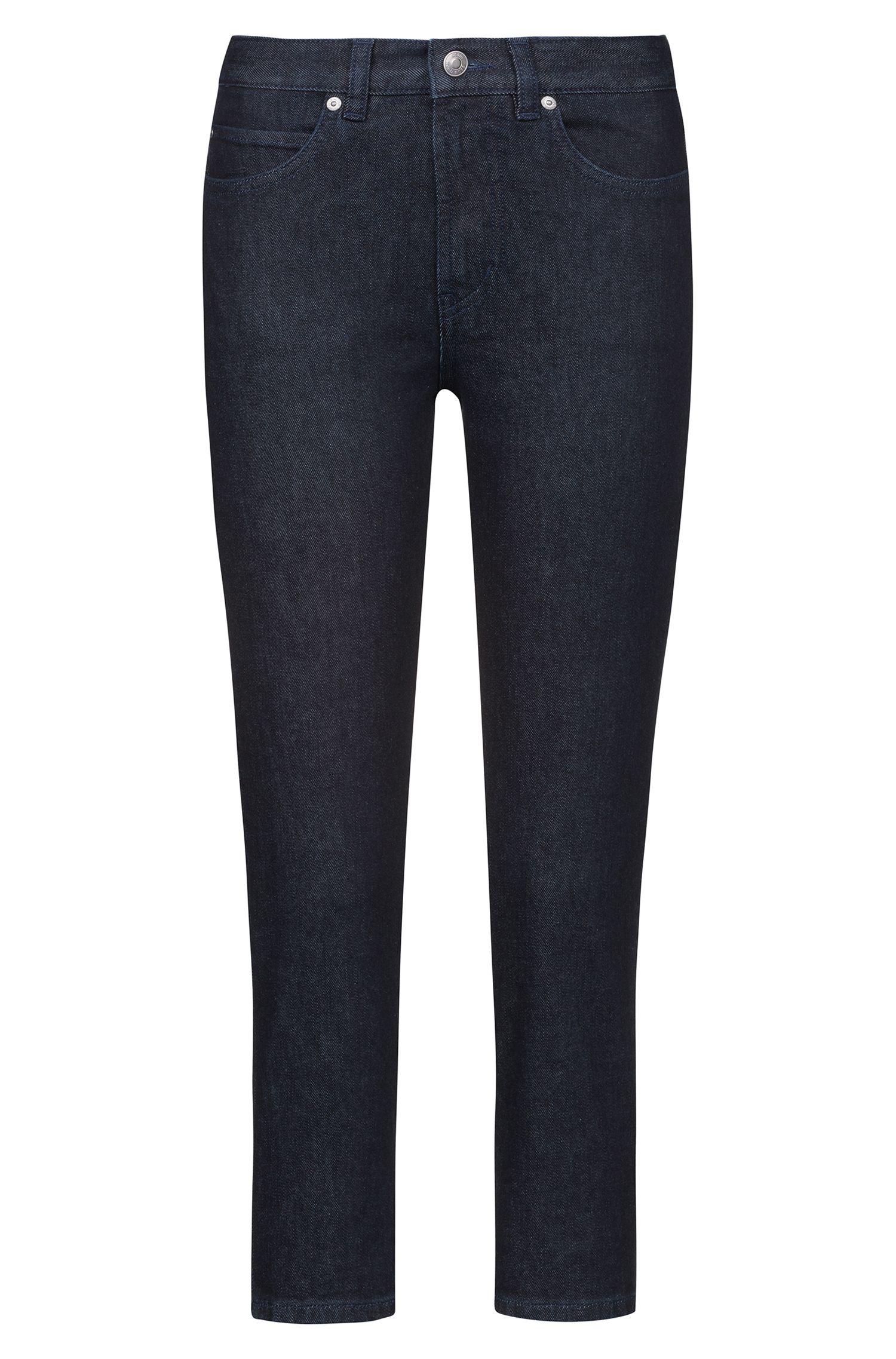 Kortere slim-fit jeans met gespiegeld, kunstzinnig logo, Donkerblauw