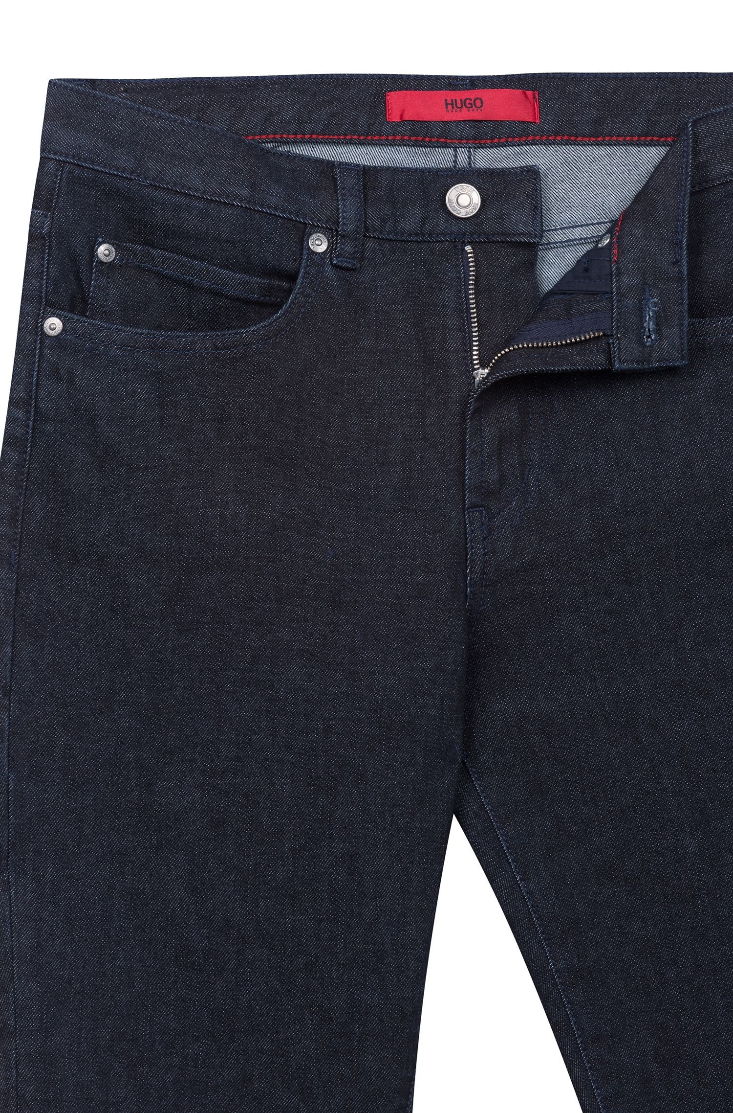 Slim-fit cropped jeans with reverse-logo artwork, Dark Blue