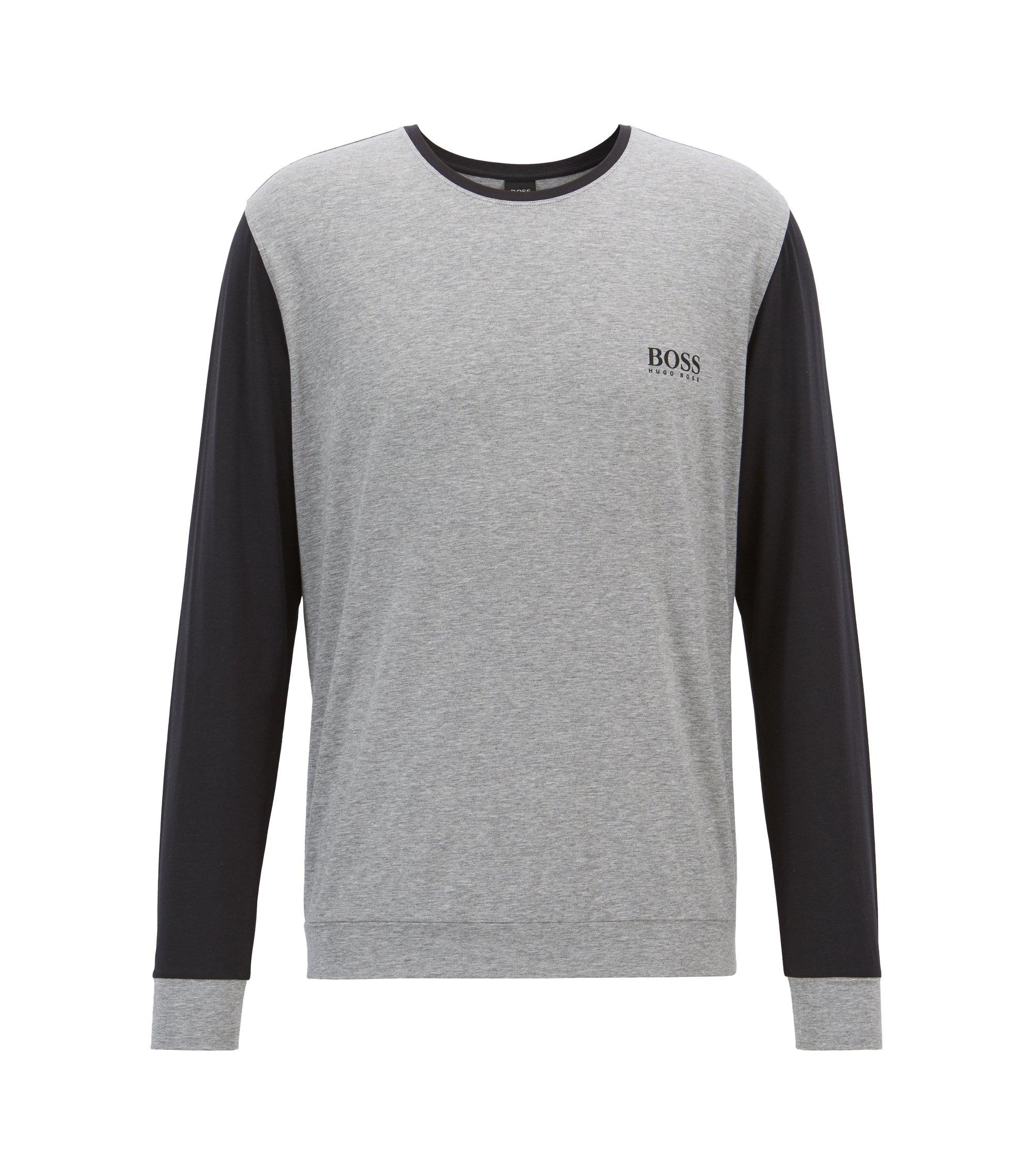 Pyjama-Top aus Jersey mit kontrastfarbenen Ärmeln, Grau