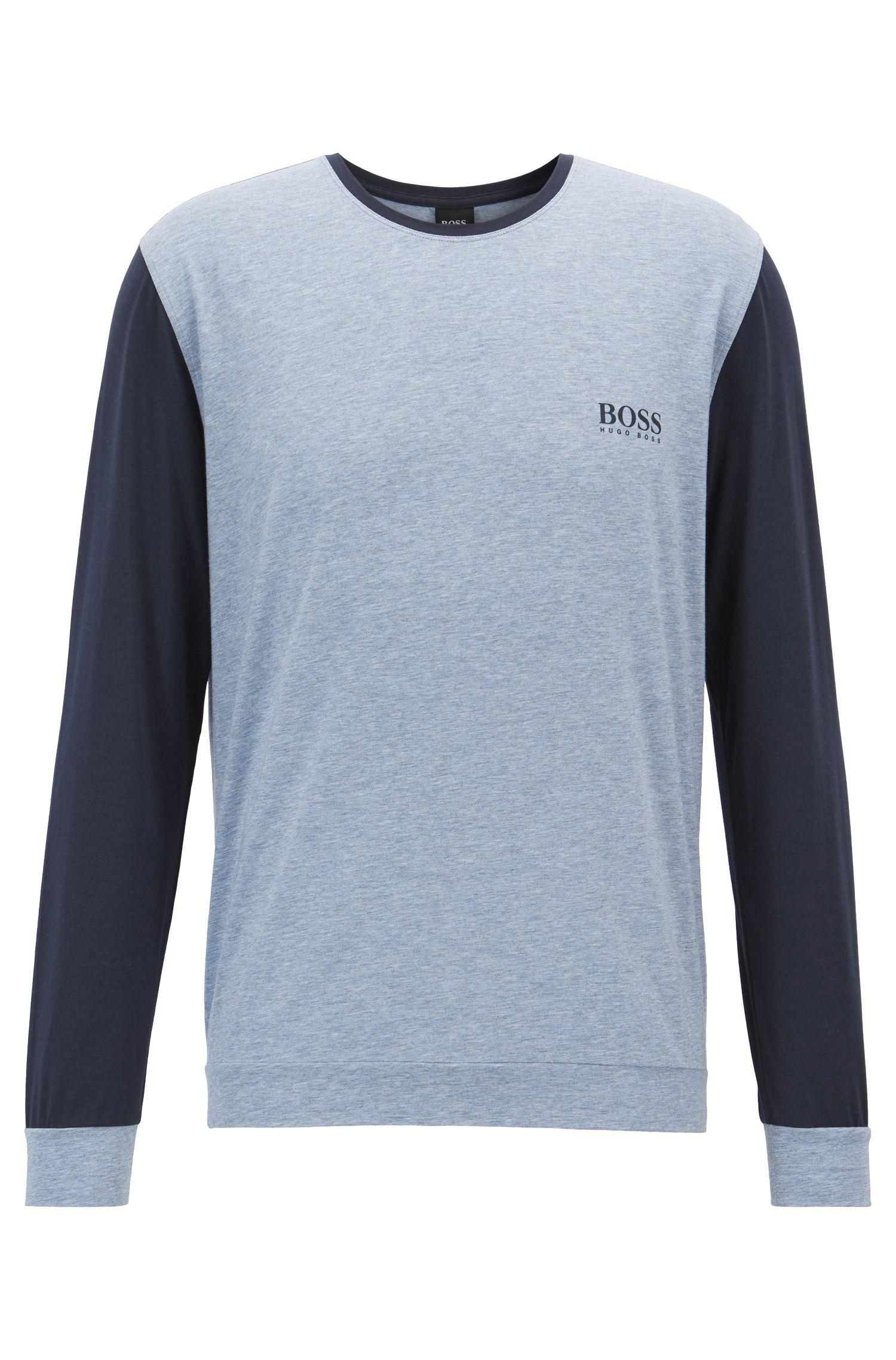 Pyjama-Top aus Jersey mit kontrastfarbenen Ärmeln, Blau