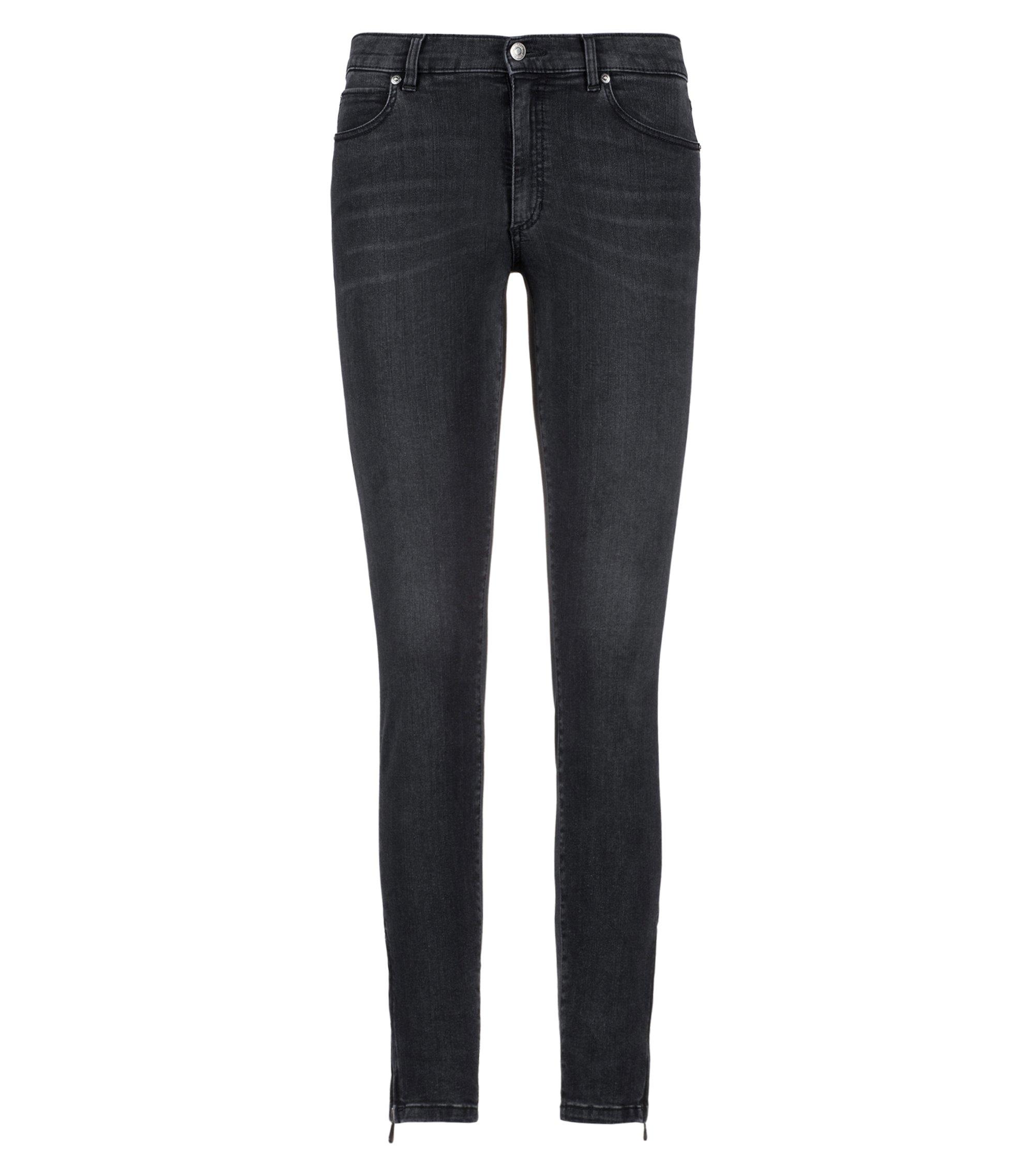 Jeans skinny fit in denim elasticizzato con fondo gamba con zip, Grigio scuro