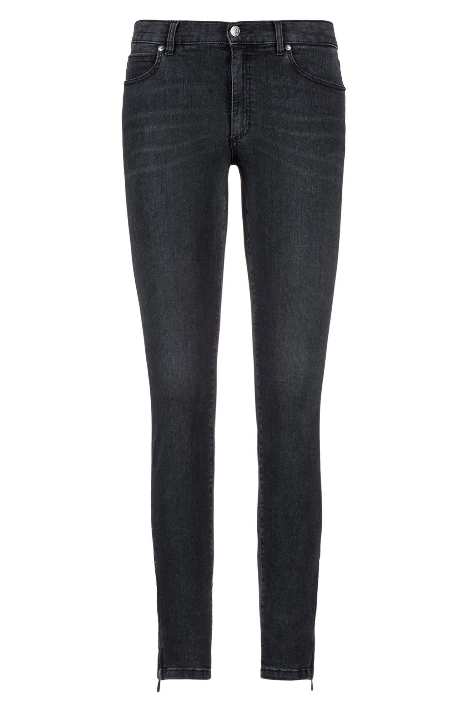 Skinny-fit jeans in stretch denim with zipped hems, Dark Grey