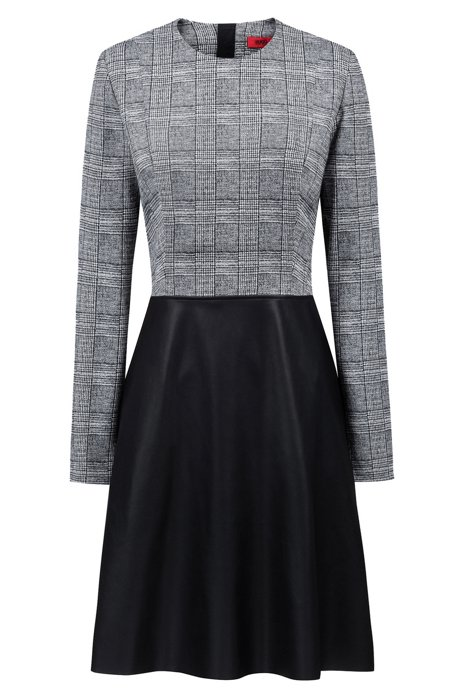 43a43719cc Long-sleeved dress with faux-leather flared skirt, Patterned