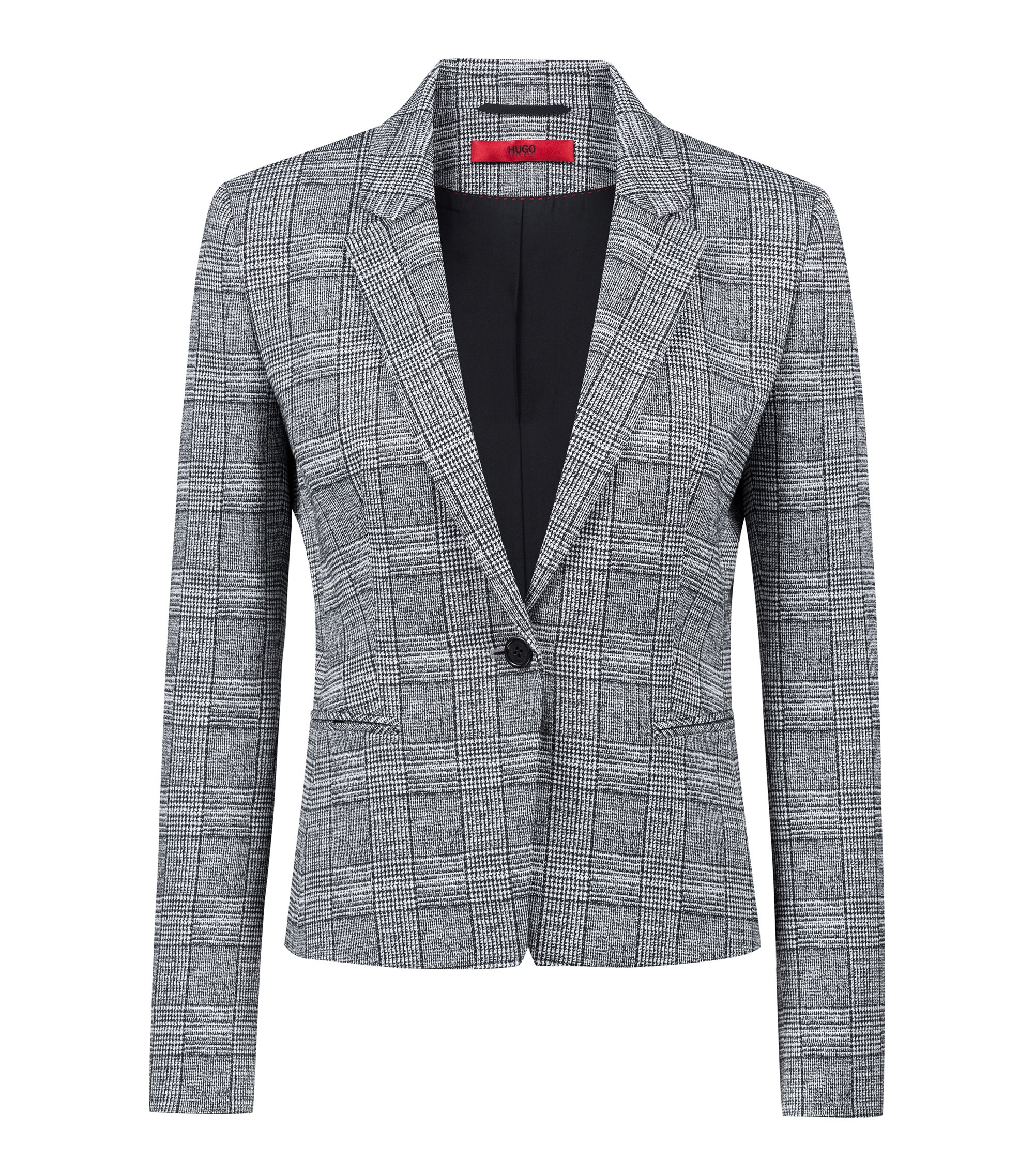 Slim-fit blazer in black-and-white check, Patterned