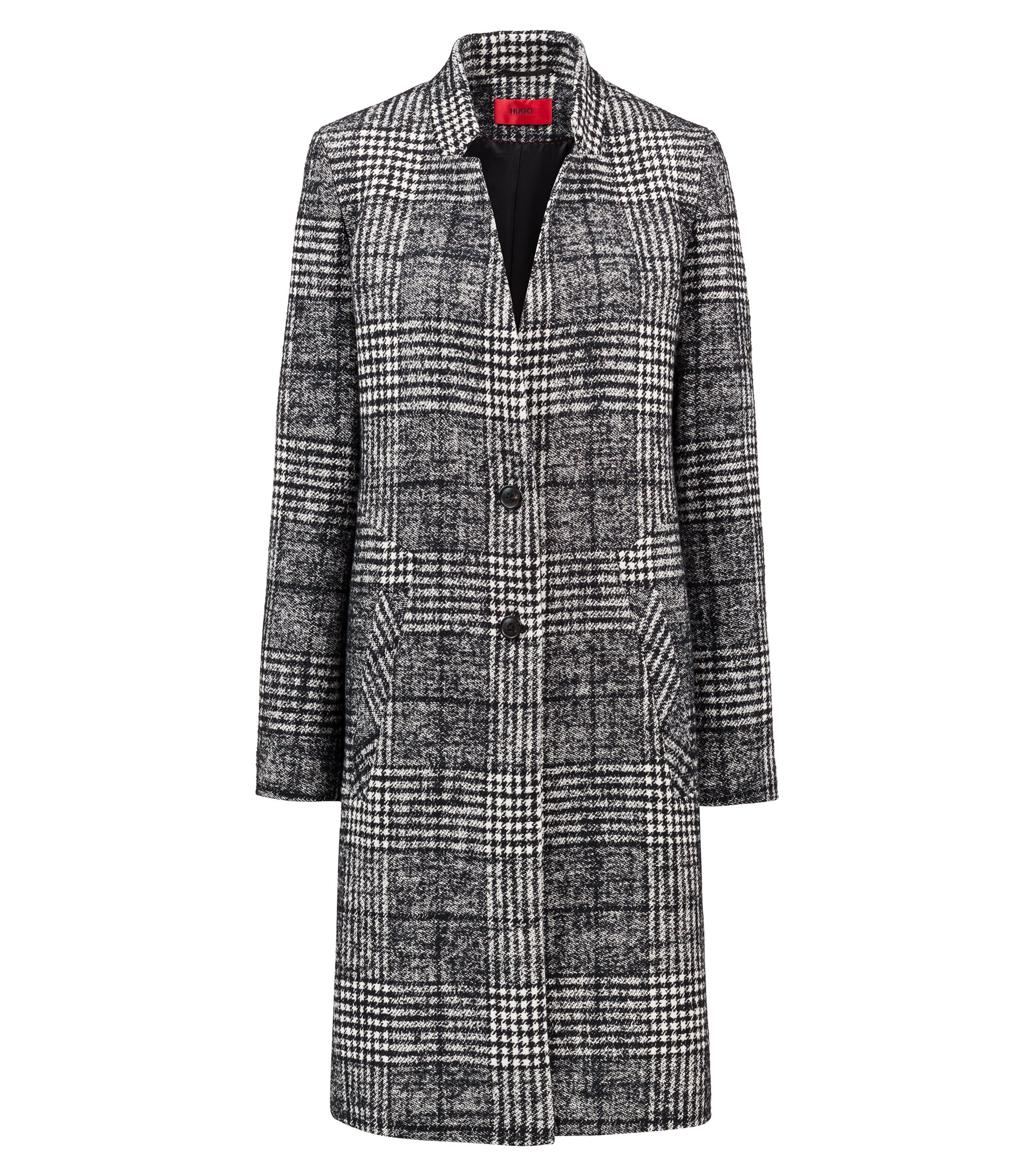 Two-button coat in monochrome Glen plaid, Patterned