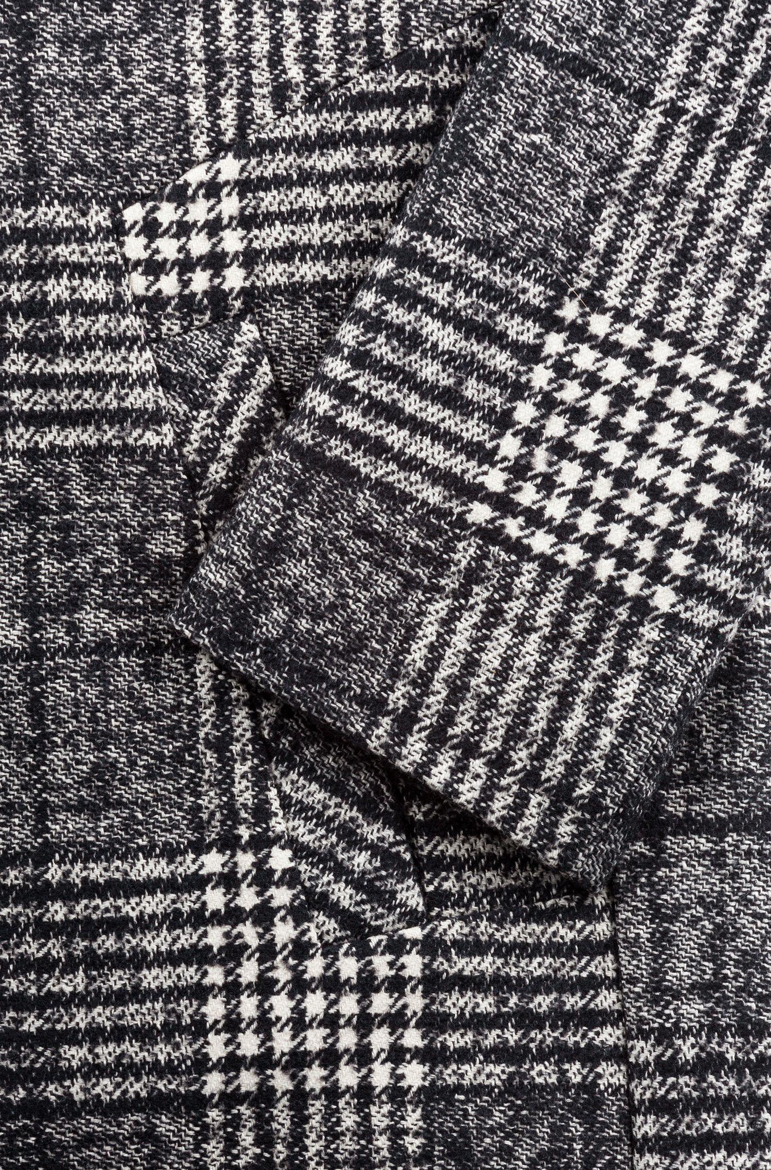 Abrigo de dos botones con cuadros Príncipe de Gales en blanco y negro